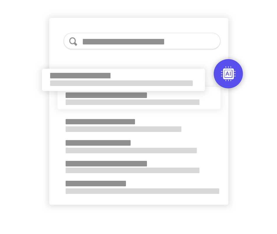 AI search ranking feature