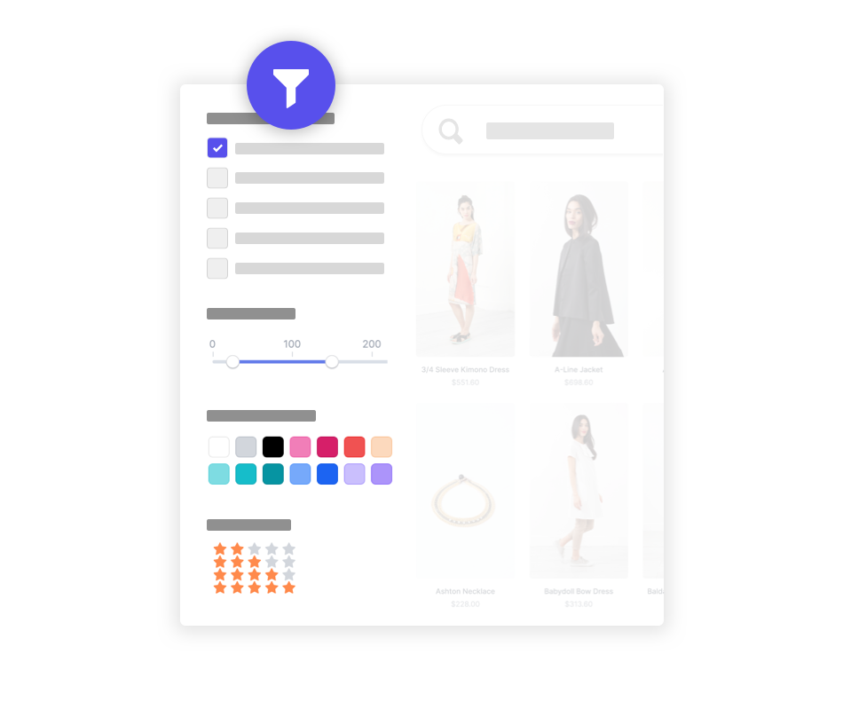 Ecommerce site search filters
