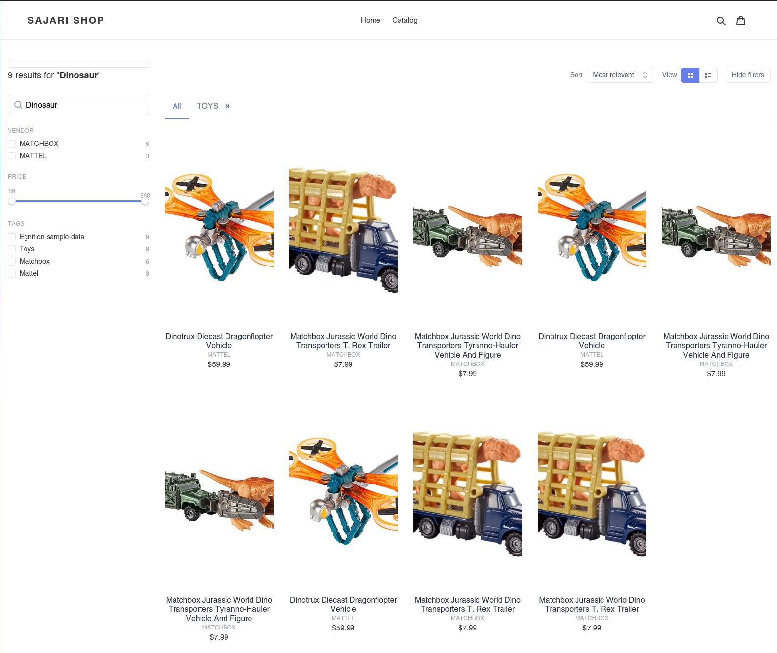 Sajari search results