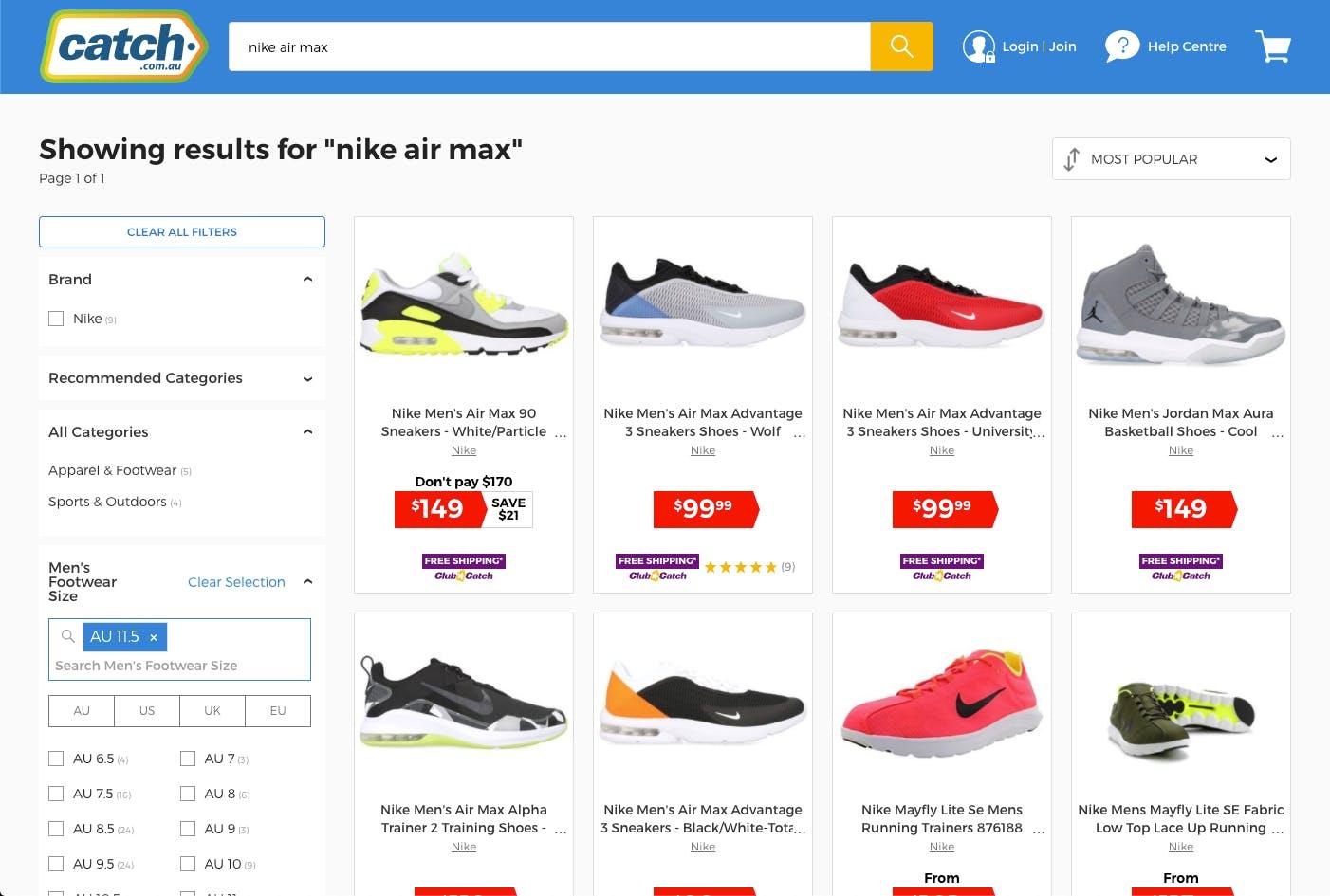 Catch.com.au ecommerce onsite search