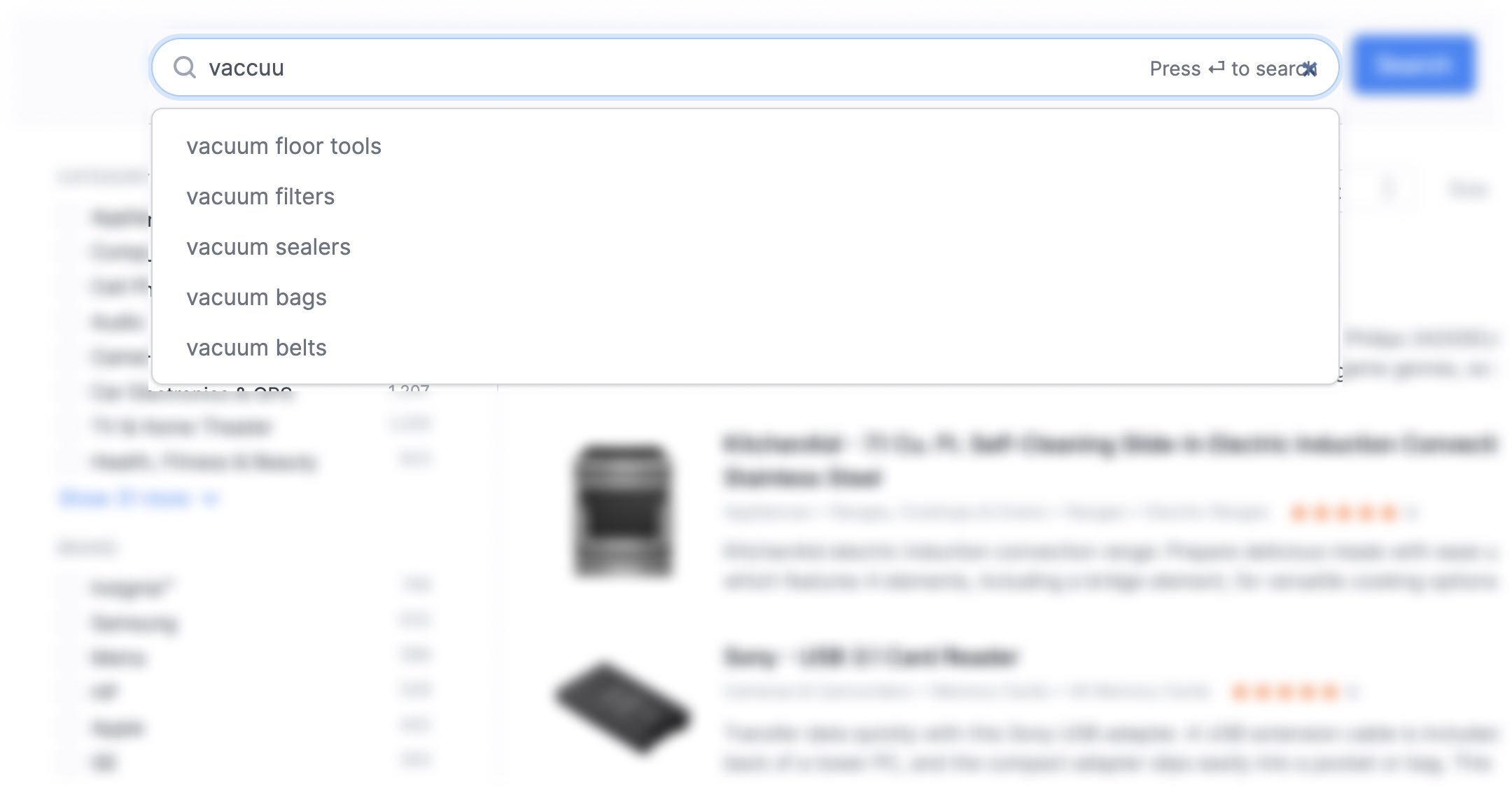 Example of search autocomplete and autosuggest