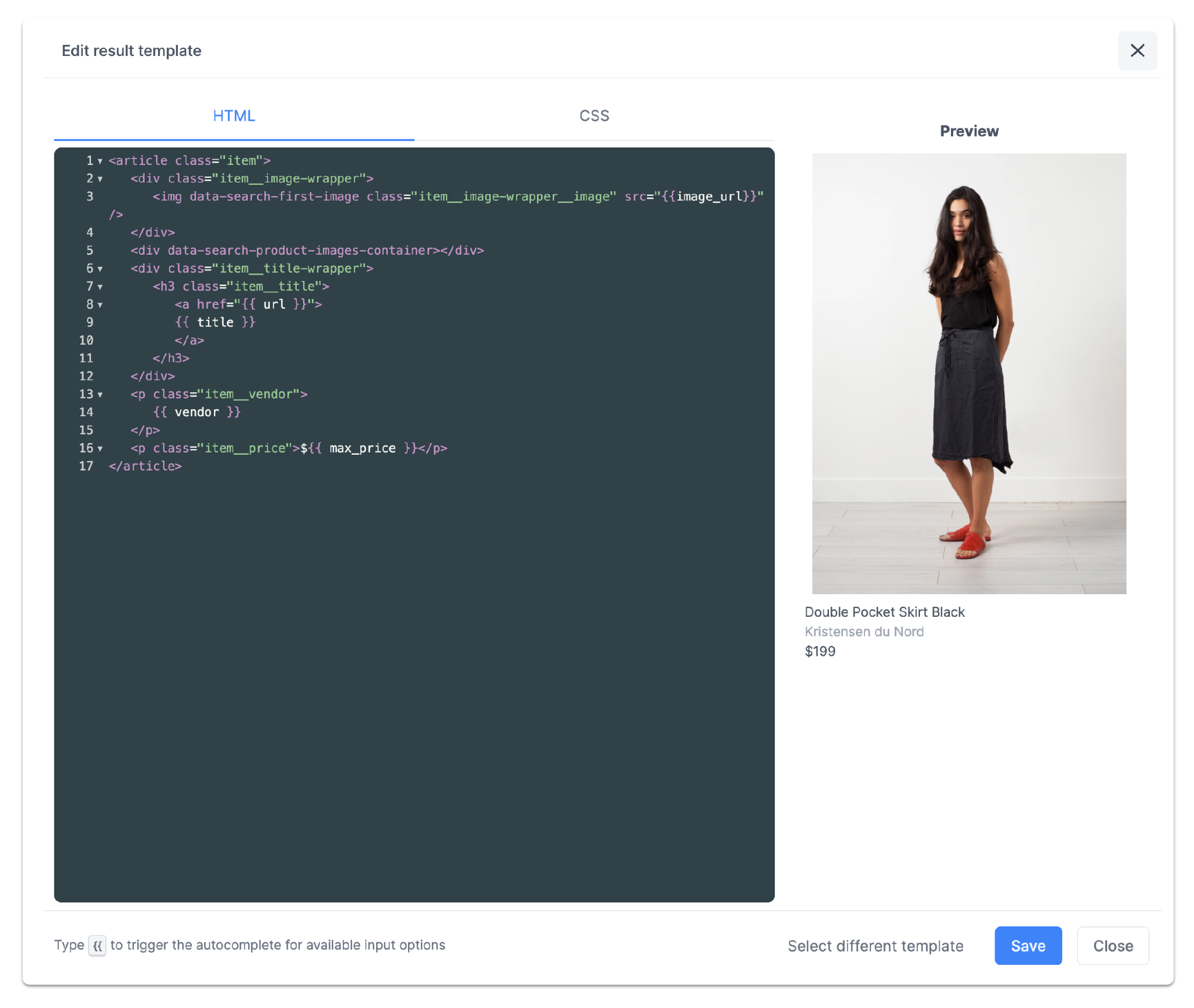 search result template designer