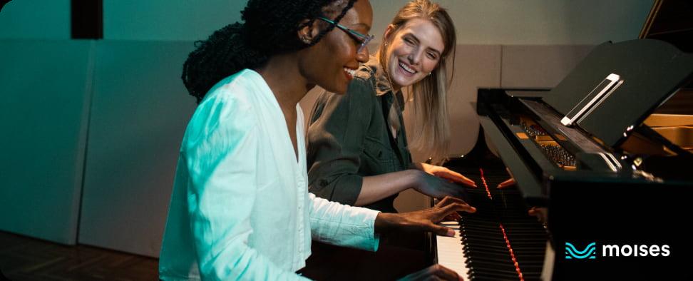 Example of logo over photo: Piano teacher