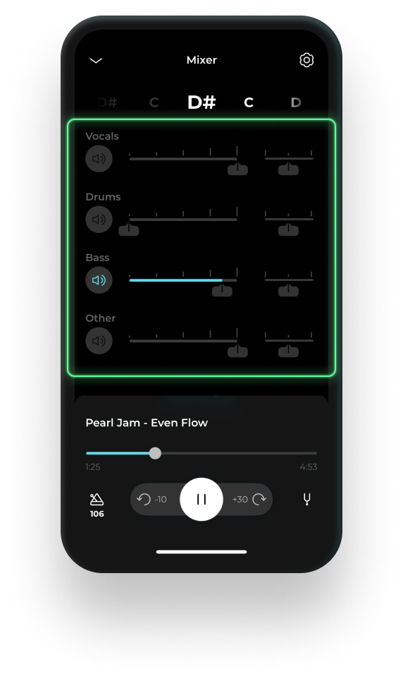 Mobile device displaying the AI mixer feature on Moises