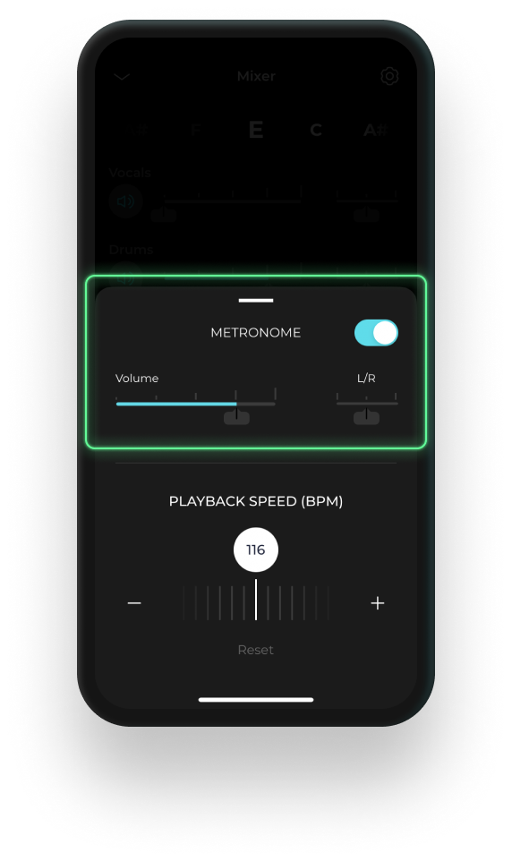 Mobile device displaying the smart metronone feature on Moises