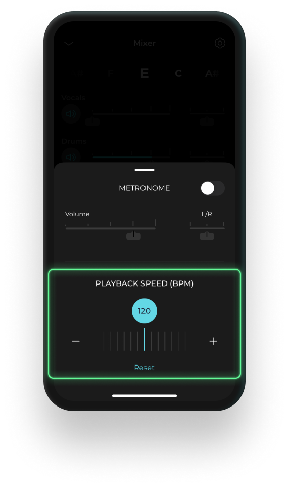 Mobile device displaying the tempo changer feature on Moises