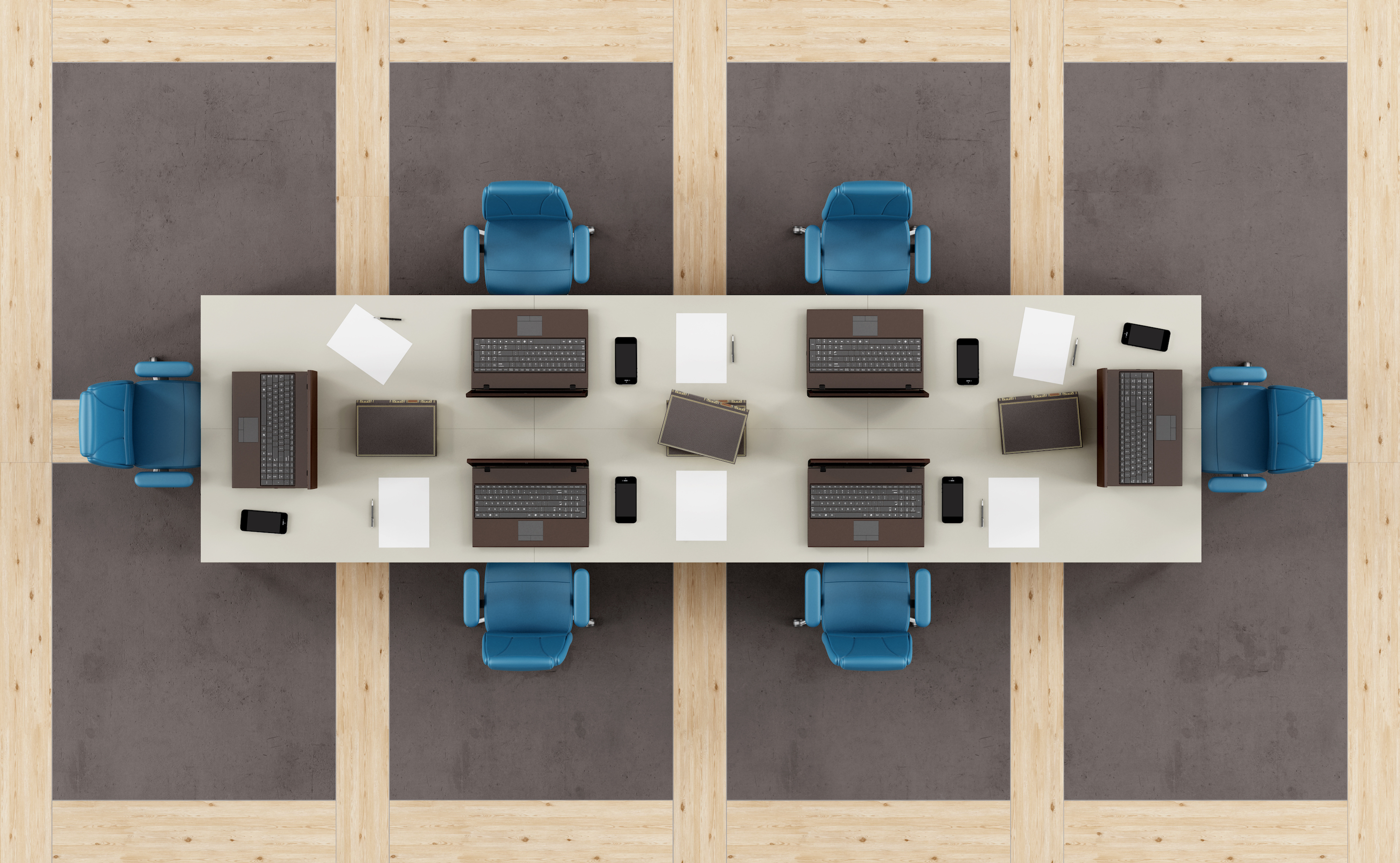 A top view of a boardroom table