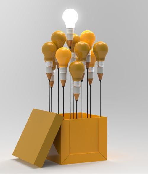 Lightbulbs rising out of a box