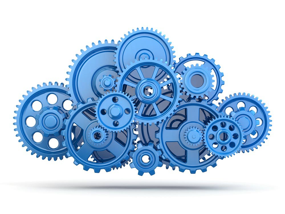 A series of blue gears