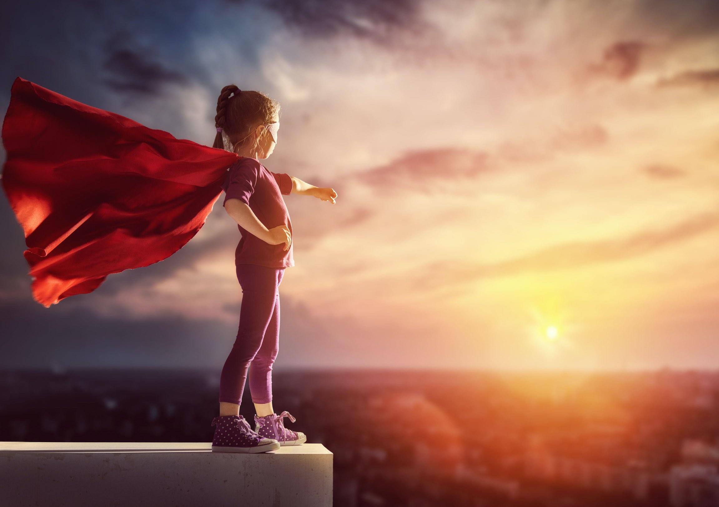 Young girl as a superhero