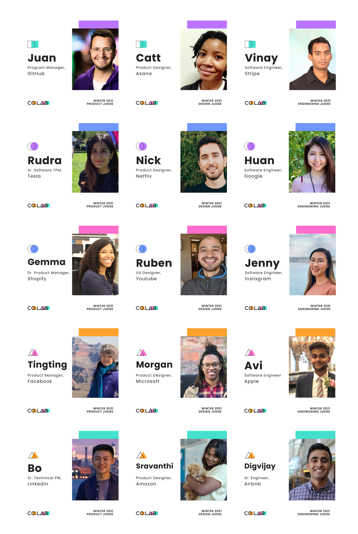 List of demo day judges with headshot photos