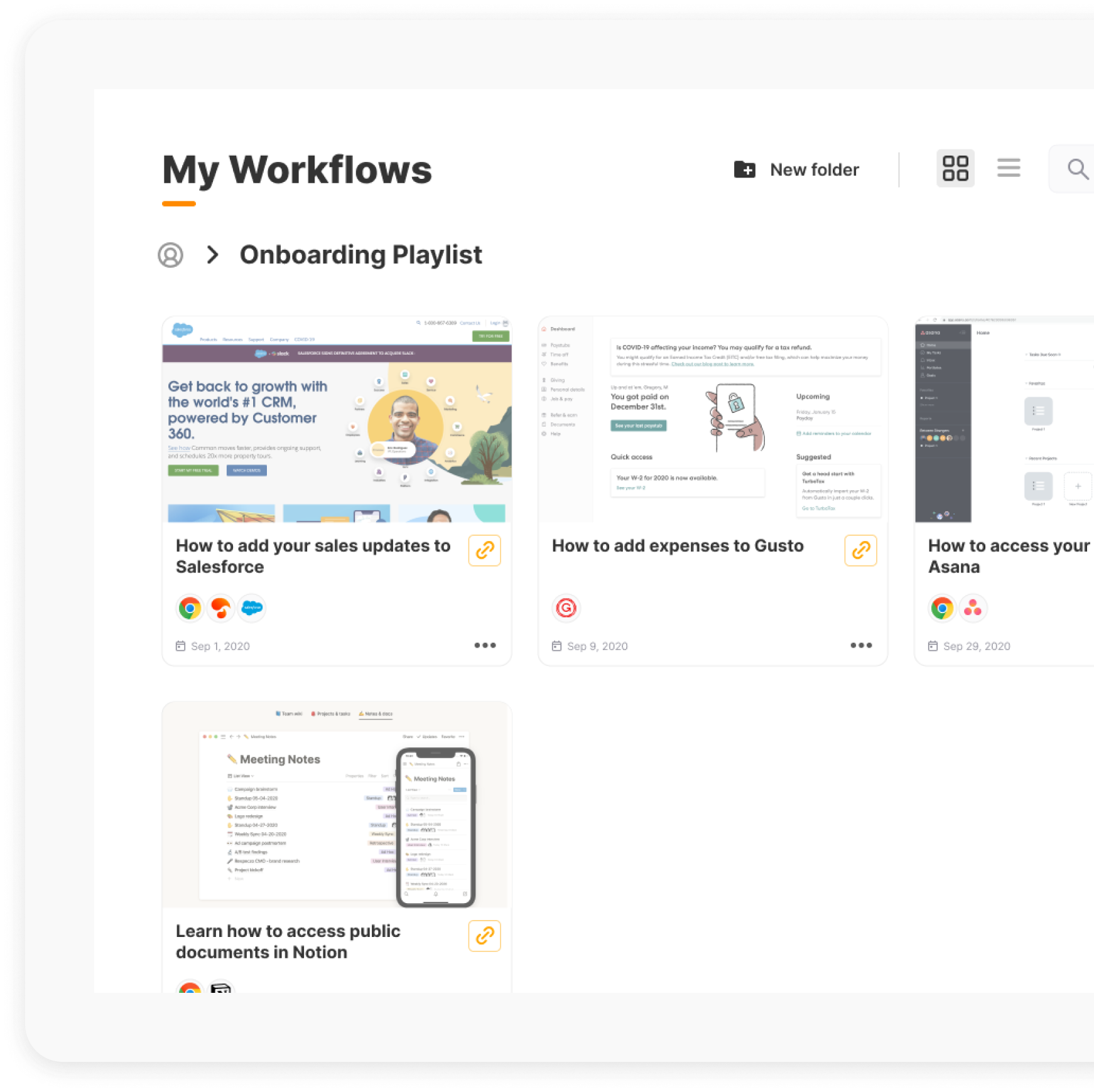 Tango 'My Workflows' Section