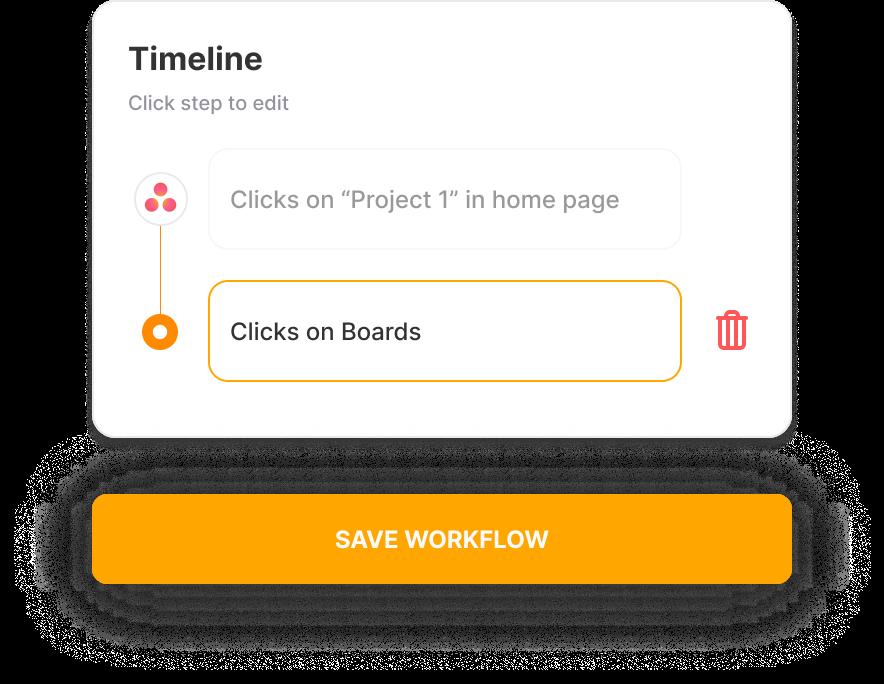 Timeline Click step to edit