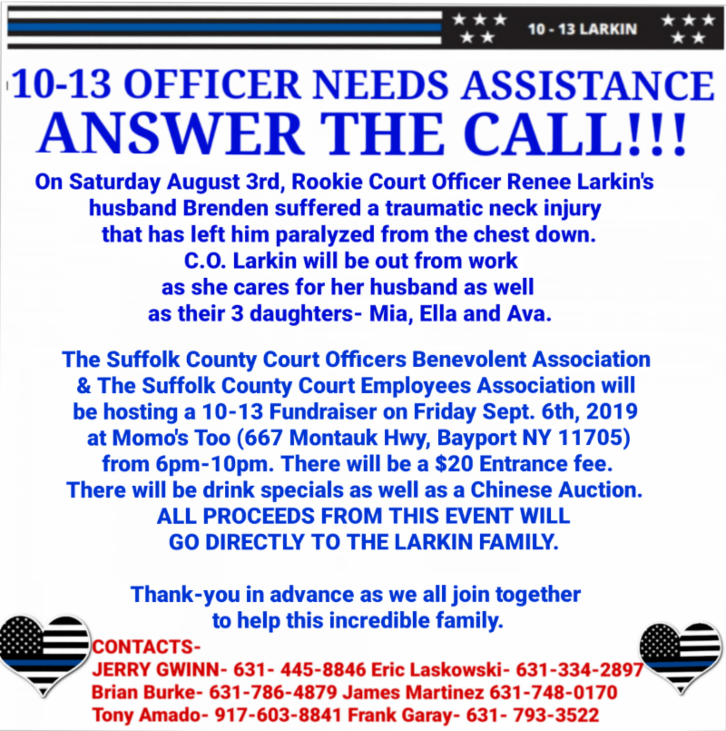 Fundraiser for Officer Larkin on Friday, Sept. 6, 2019, at Momo's Too (667 Montauk Highway, Bayport NY 11705) from 6PM-10PM