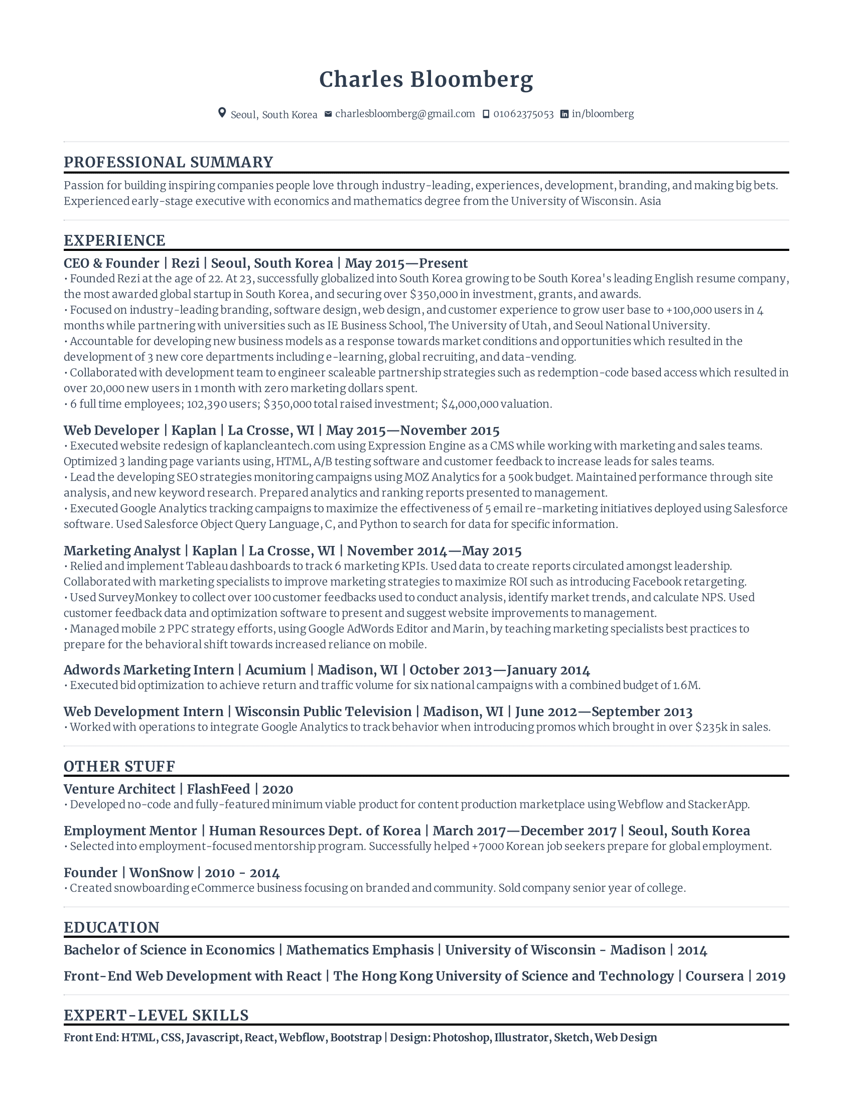 Compact Resume Sample Template