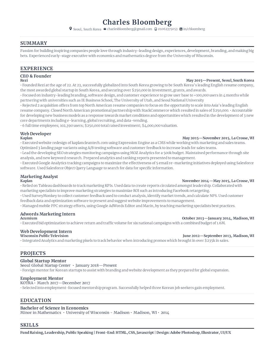 Standard Resume Sample Template