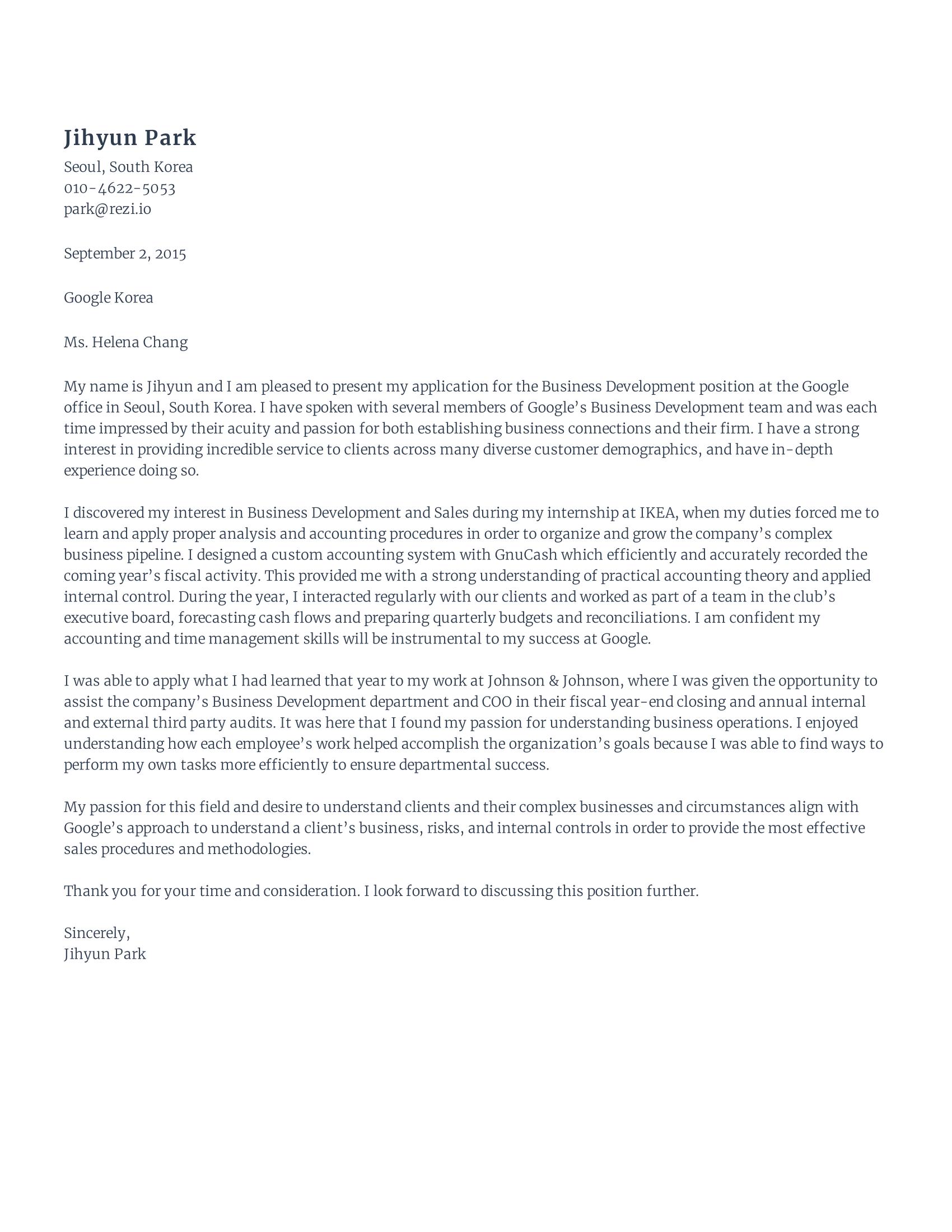 Business Development Cover Letter