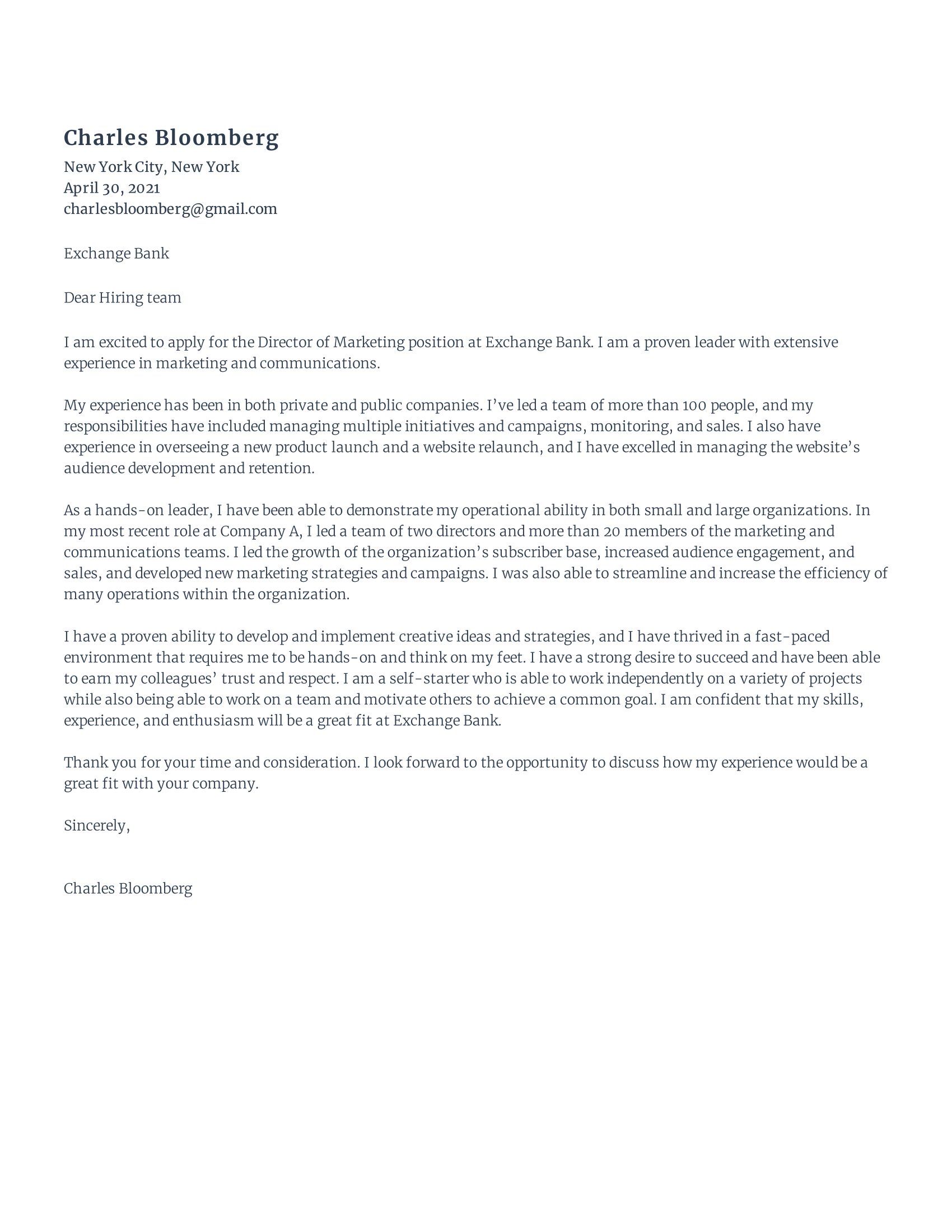Director of Marketing Cover Letter