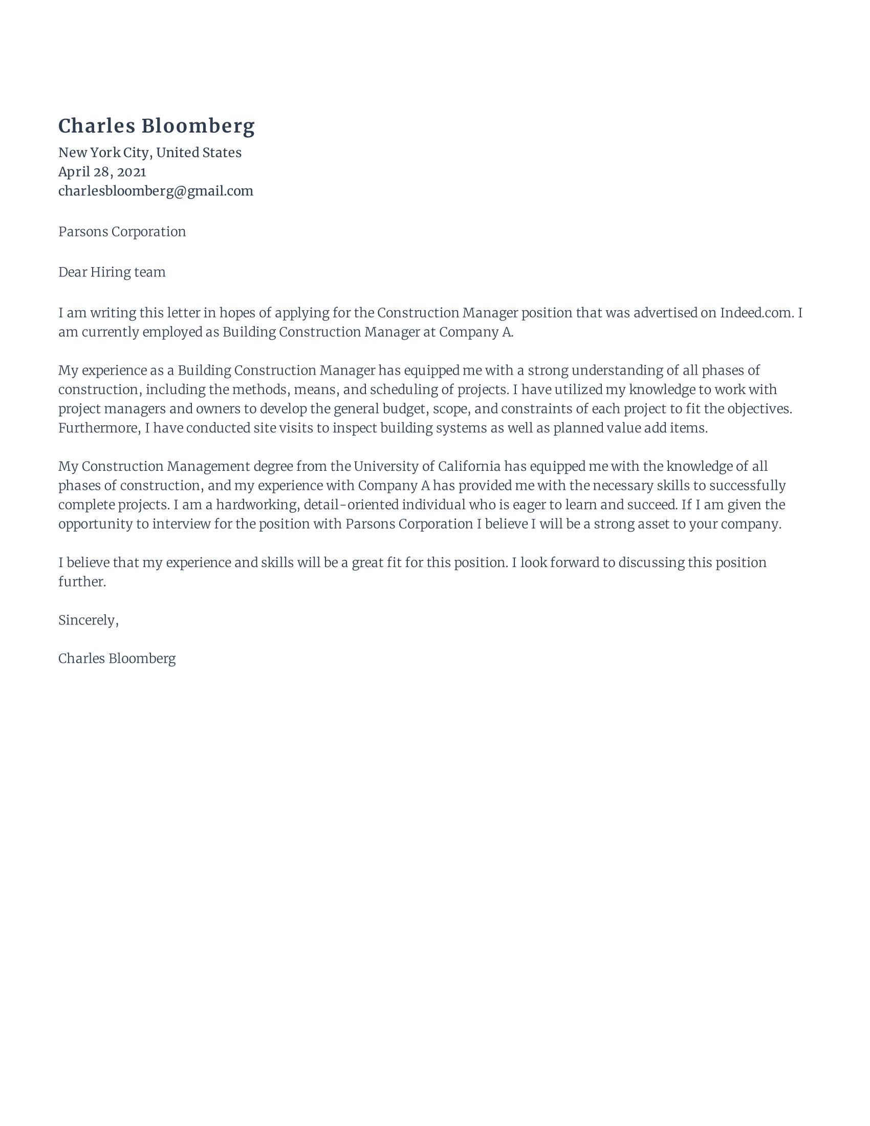 Construction Manager Cover Letter
