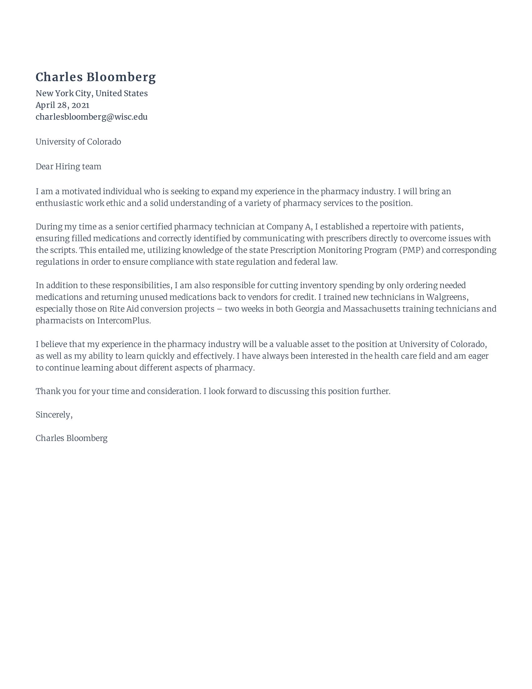 Pharmacy tech cover letter