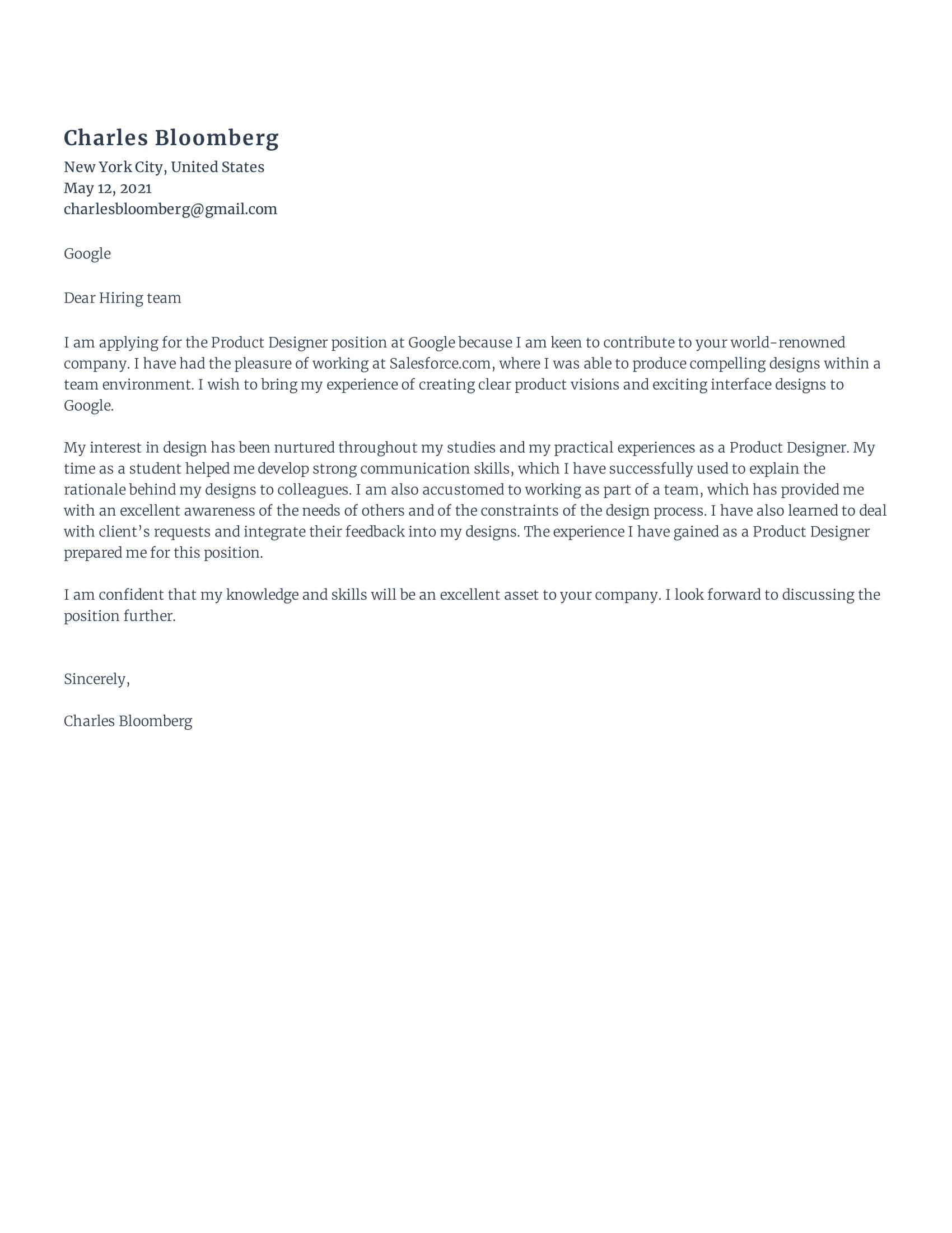Rezi Product Designer Cover Letter Template