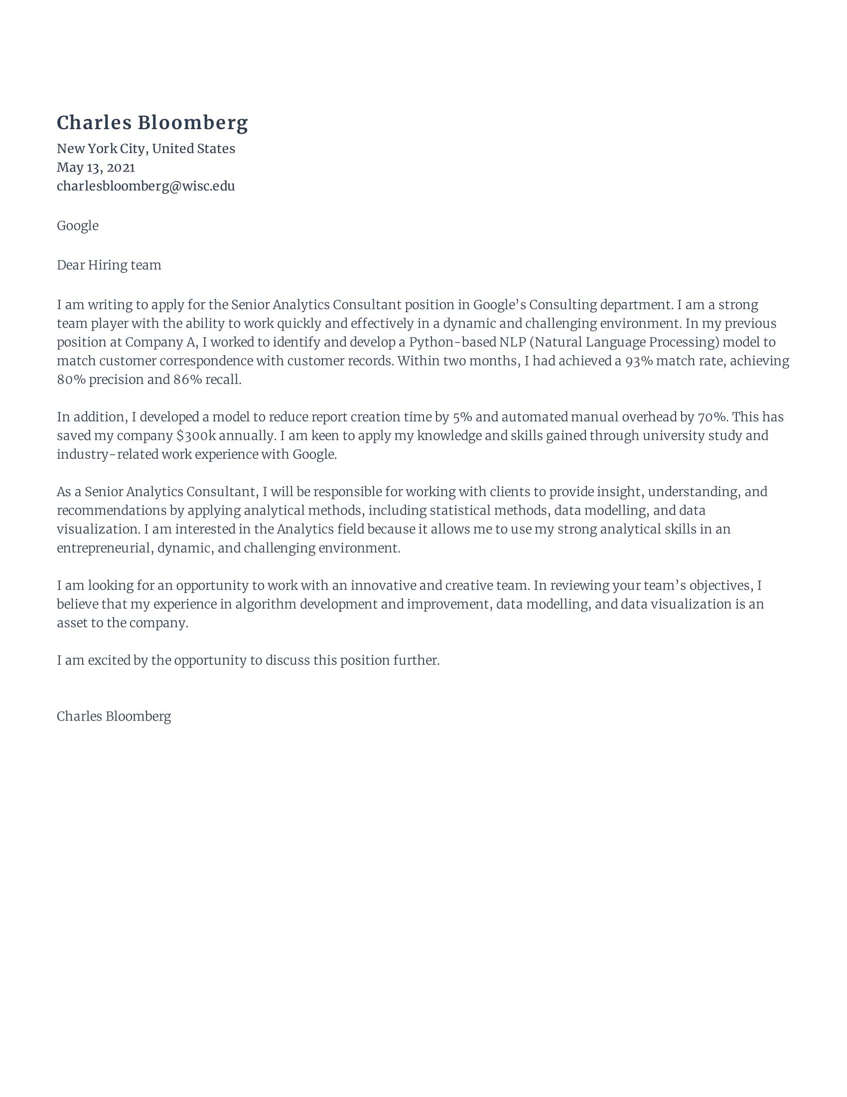 Senior Data Analyst Cover Letter