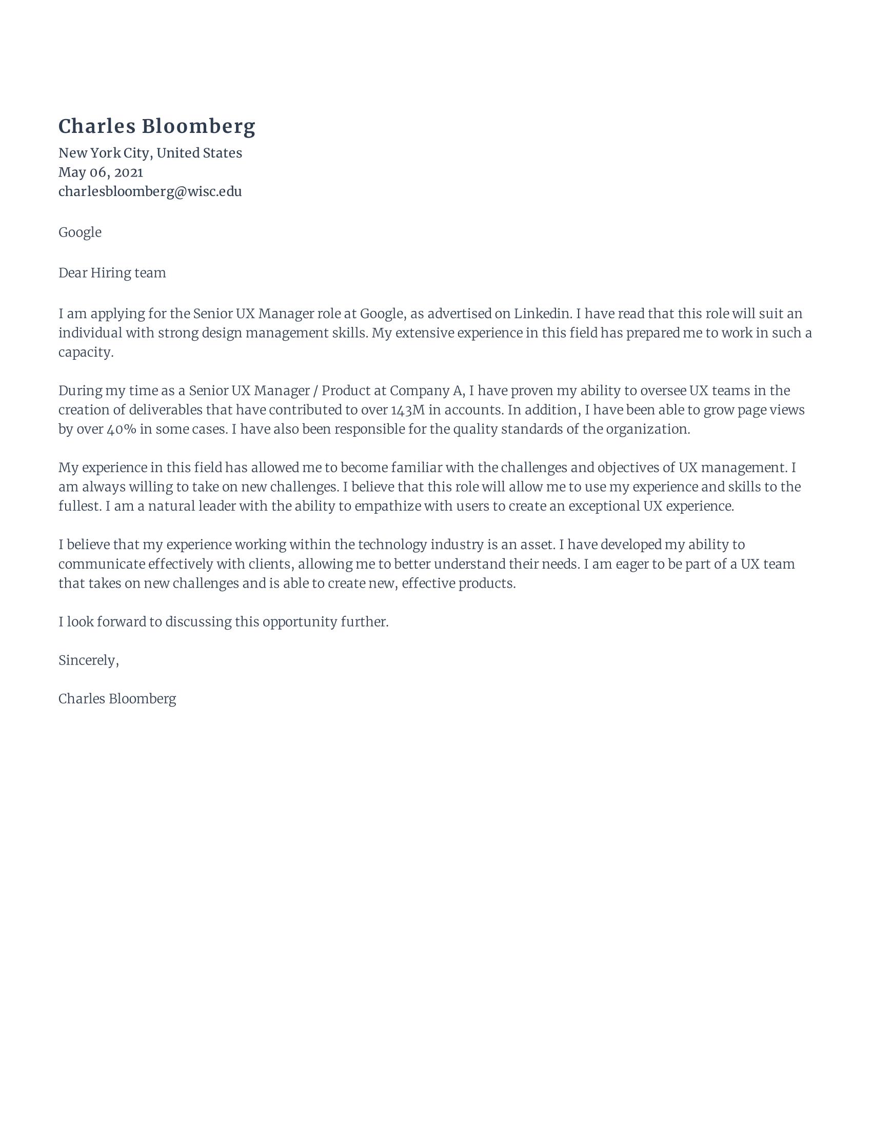 senior UX Manager cover letter