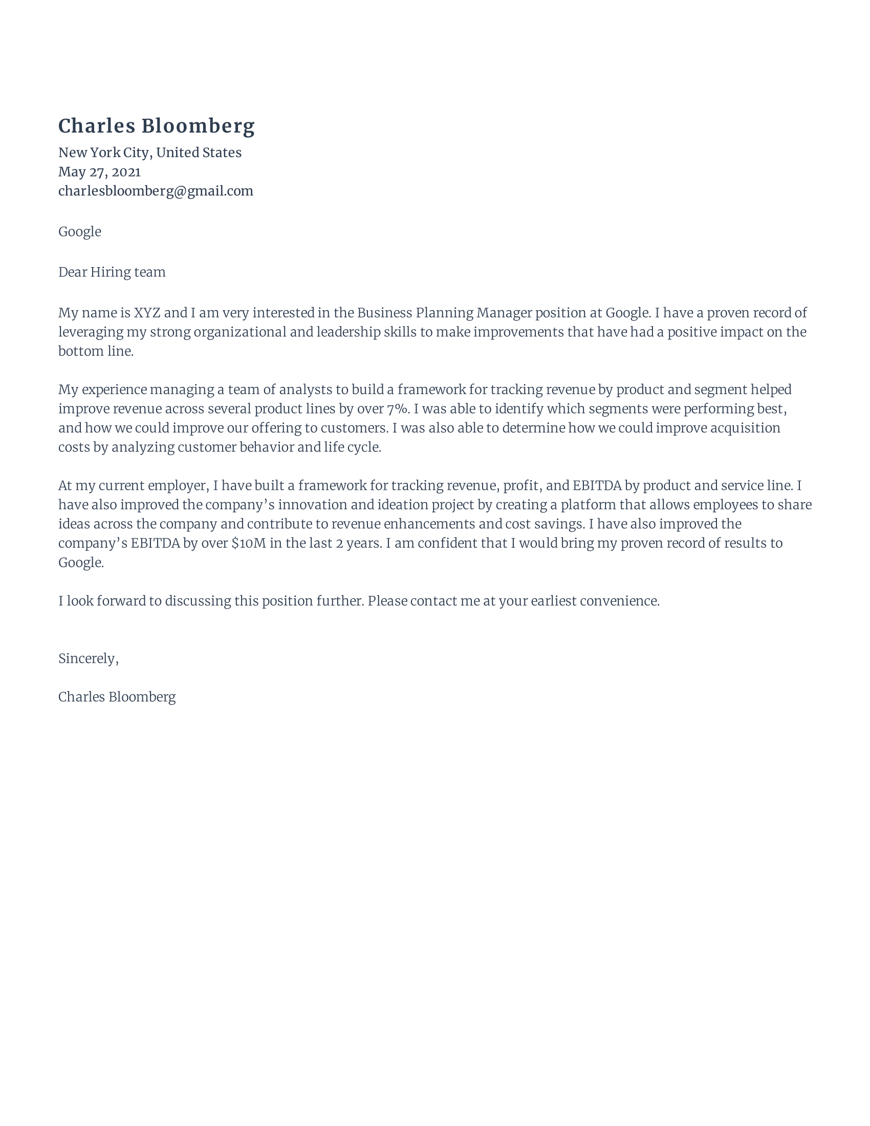 Business Planning Manager Cover Letter