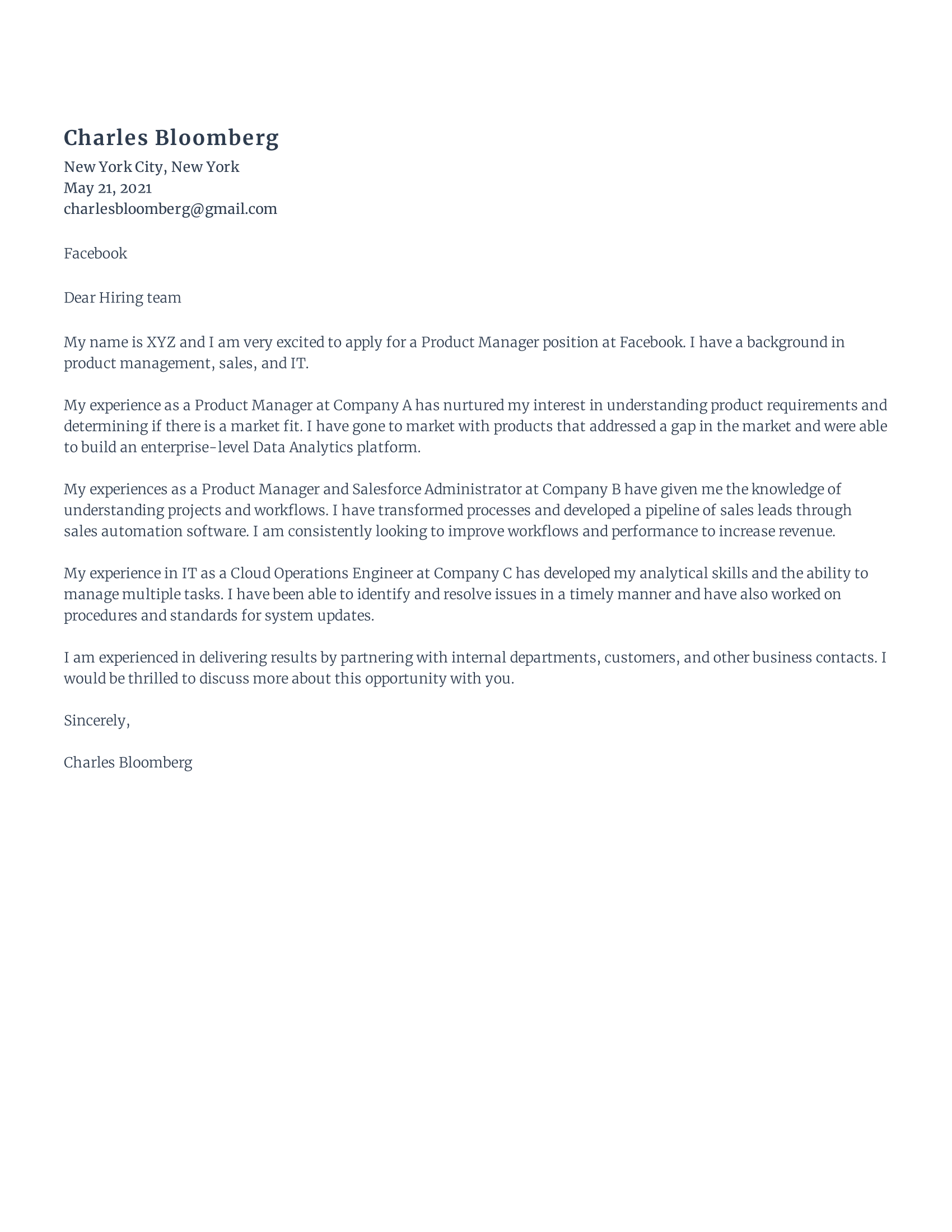 IT Product Manager Cover Letter