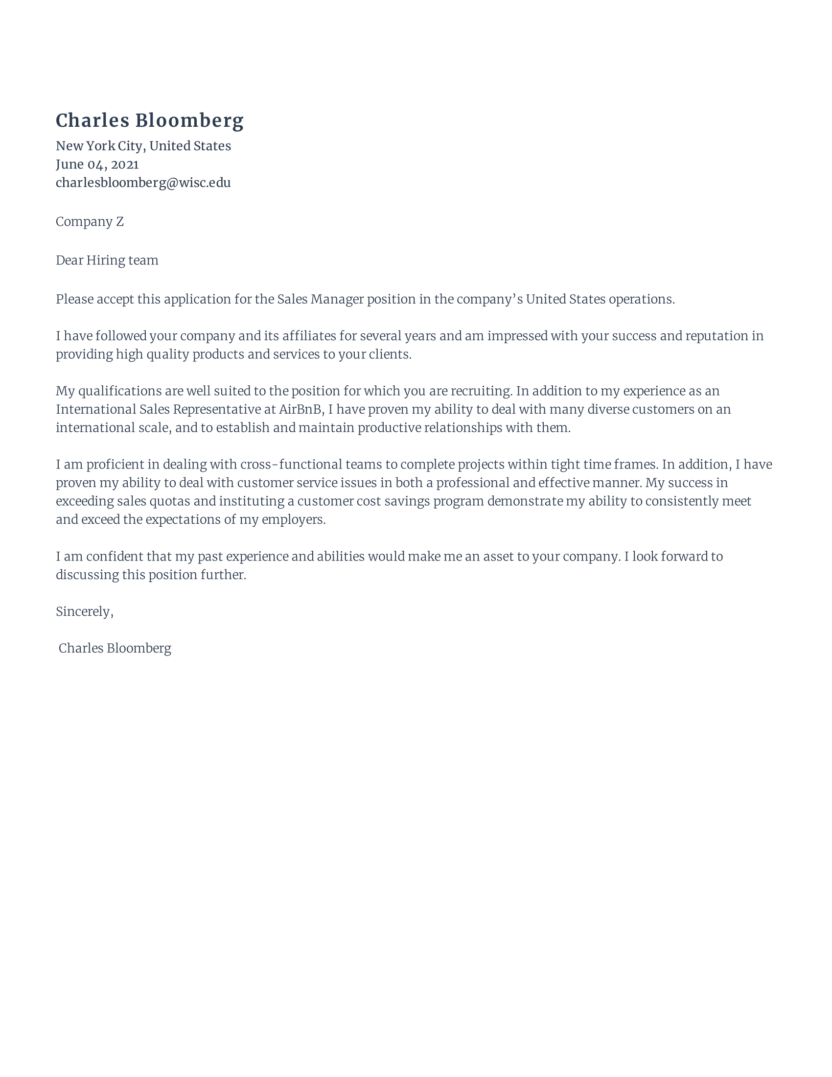 Sales Cover Letter