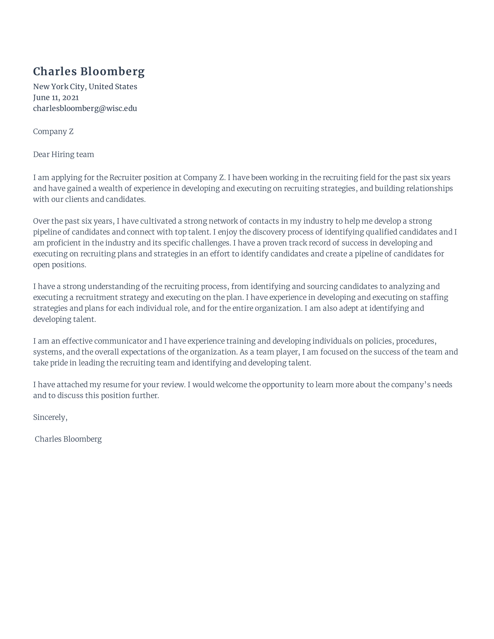 Recruiter Cover Letter