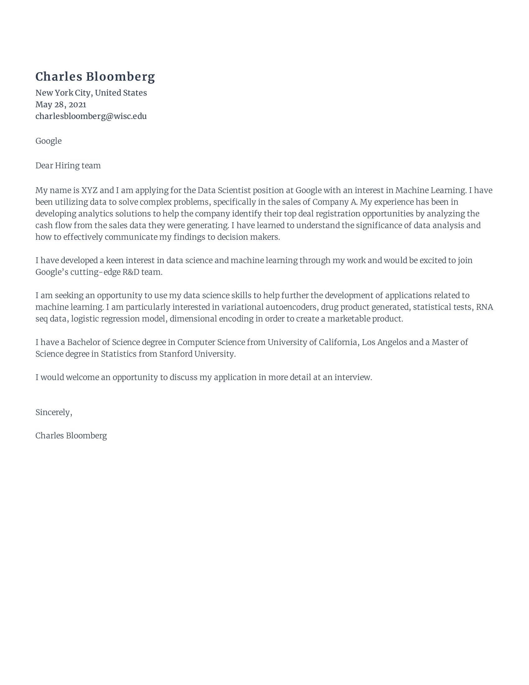 Data Scientist Cover Letter