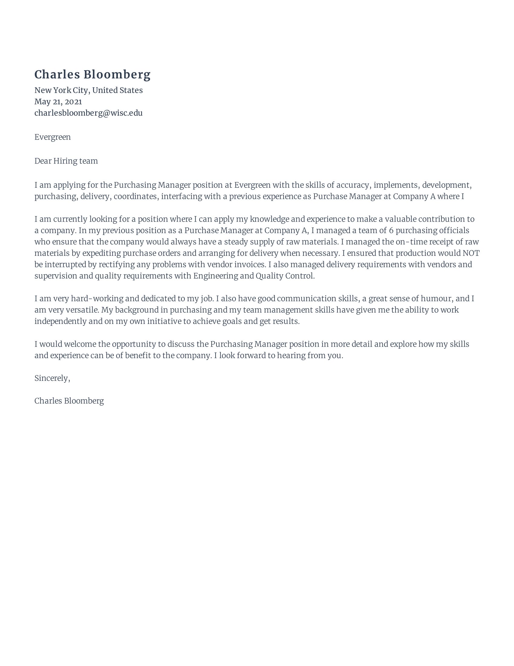 Procurement Manager Cover Letter