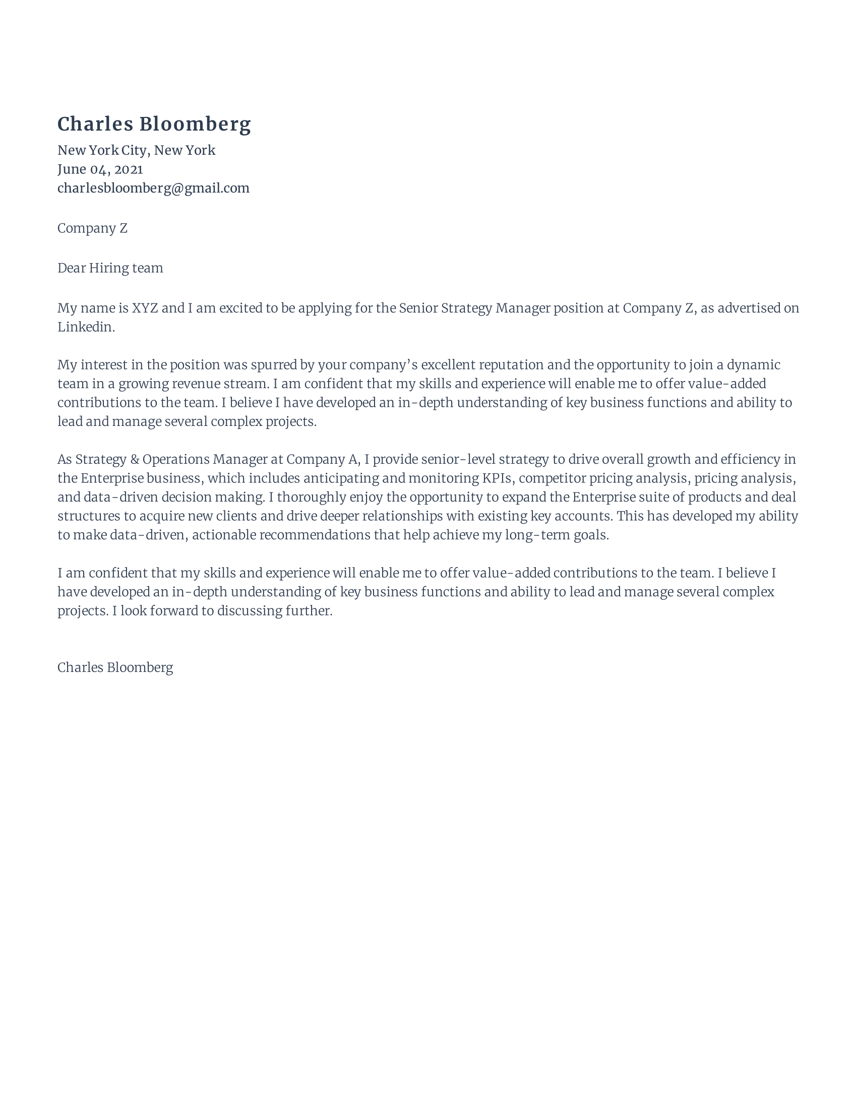Strategy Manager Cover Letter