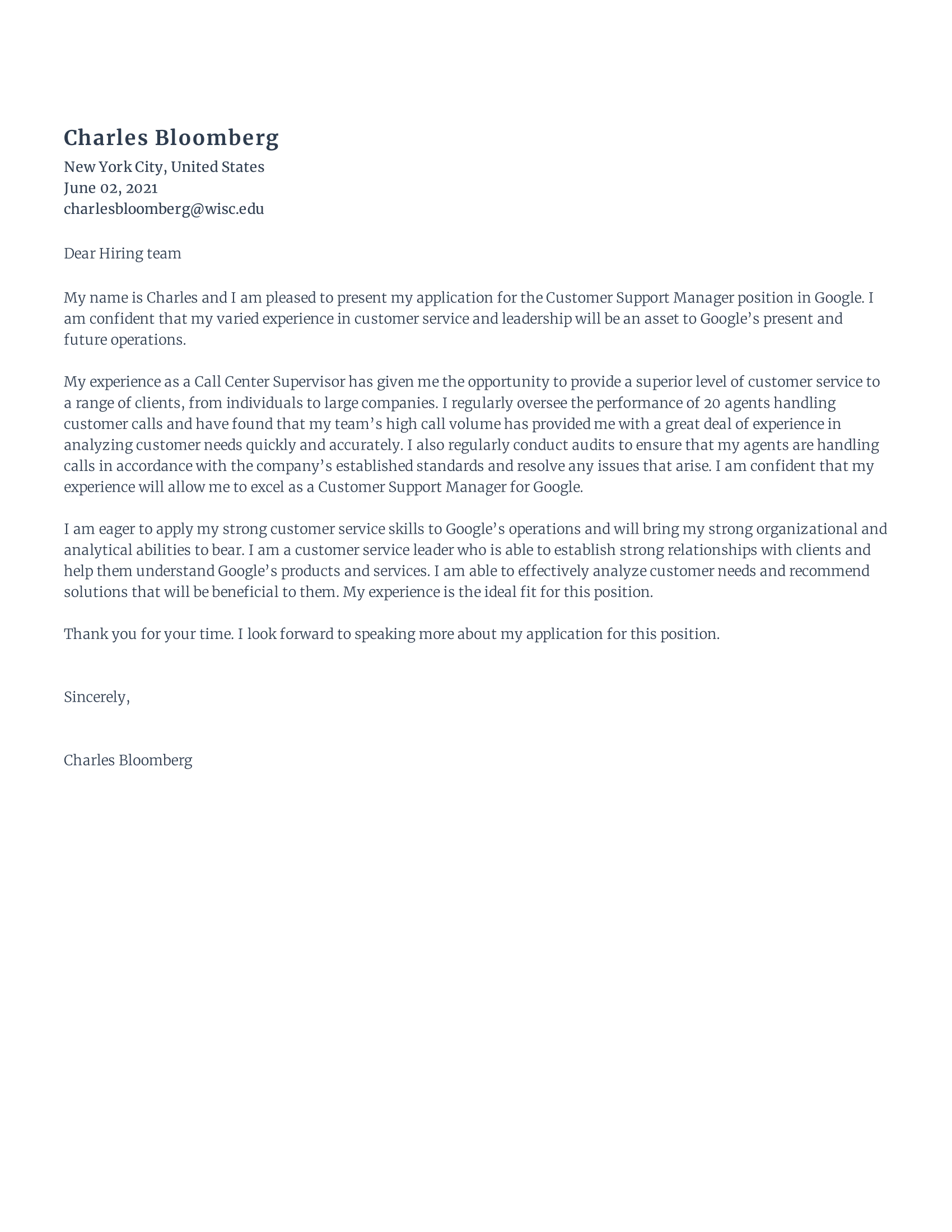 Customer Support Cover Letter