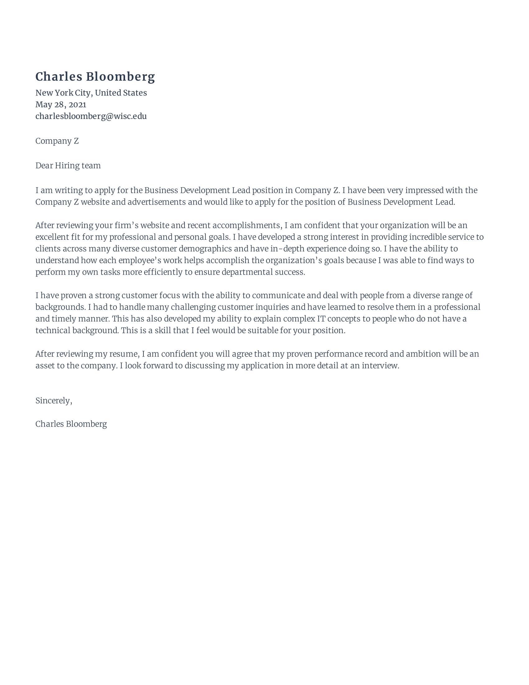 Business Improvement Lead Cover Letter