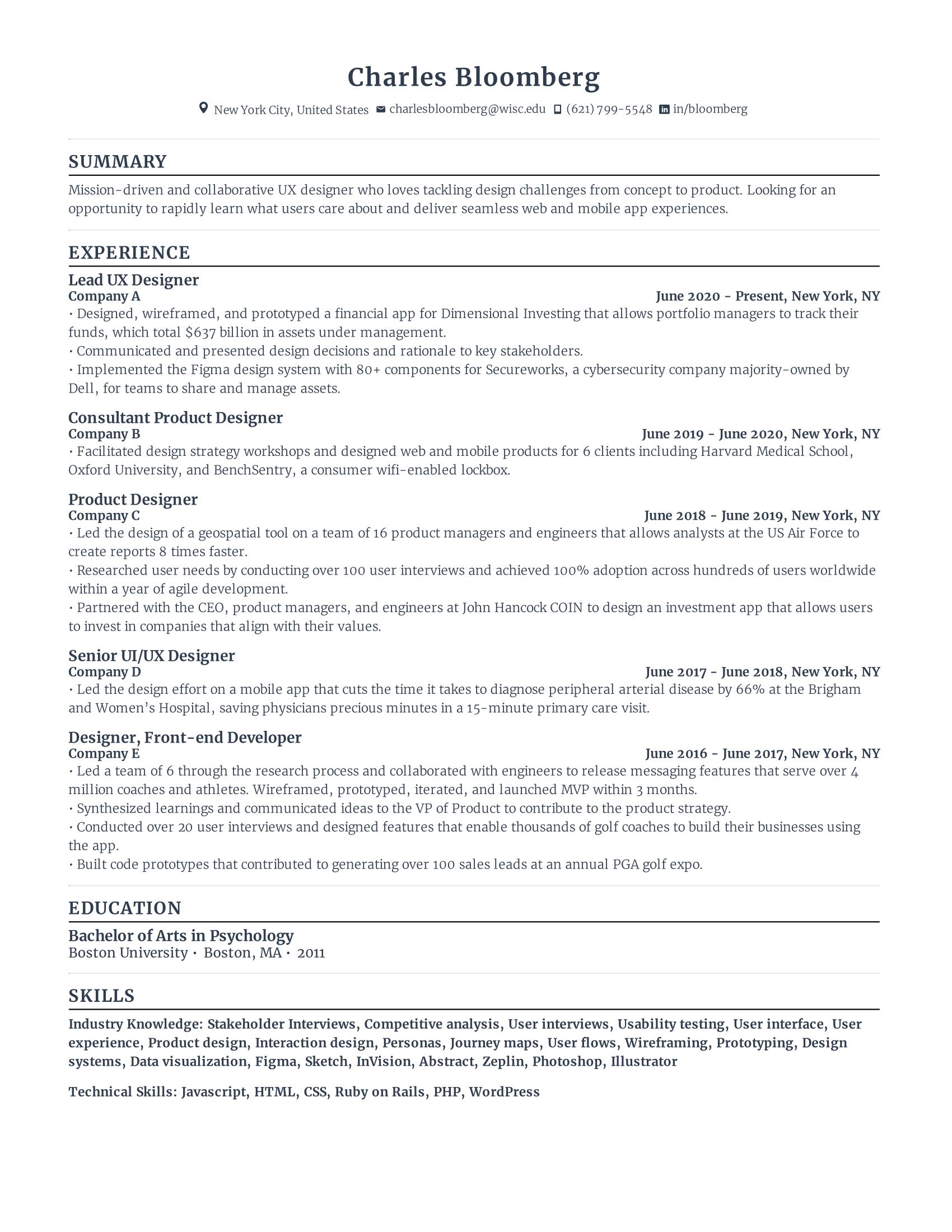 Lead UX Designer Resume