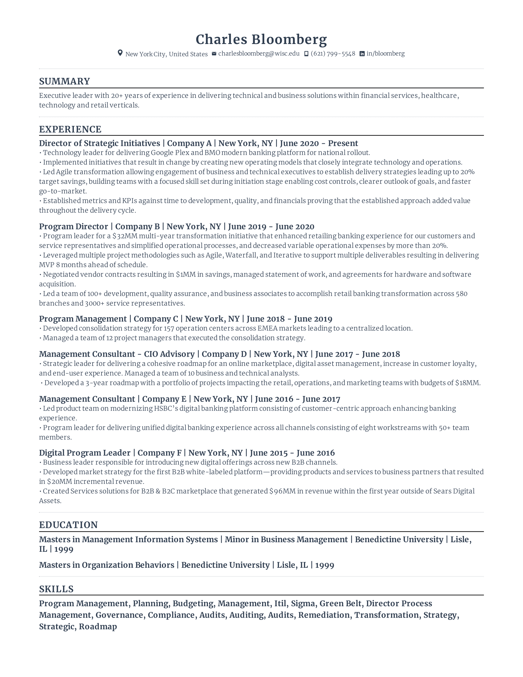 Director of Strategy Resume