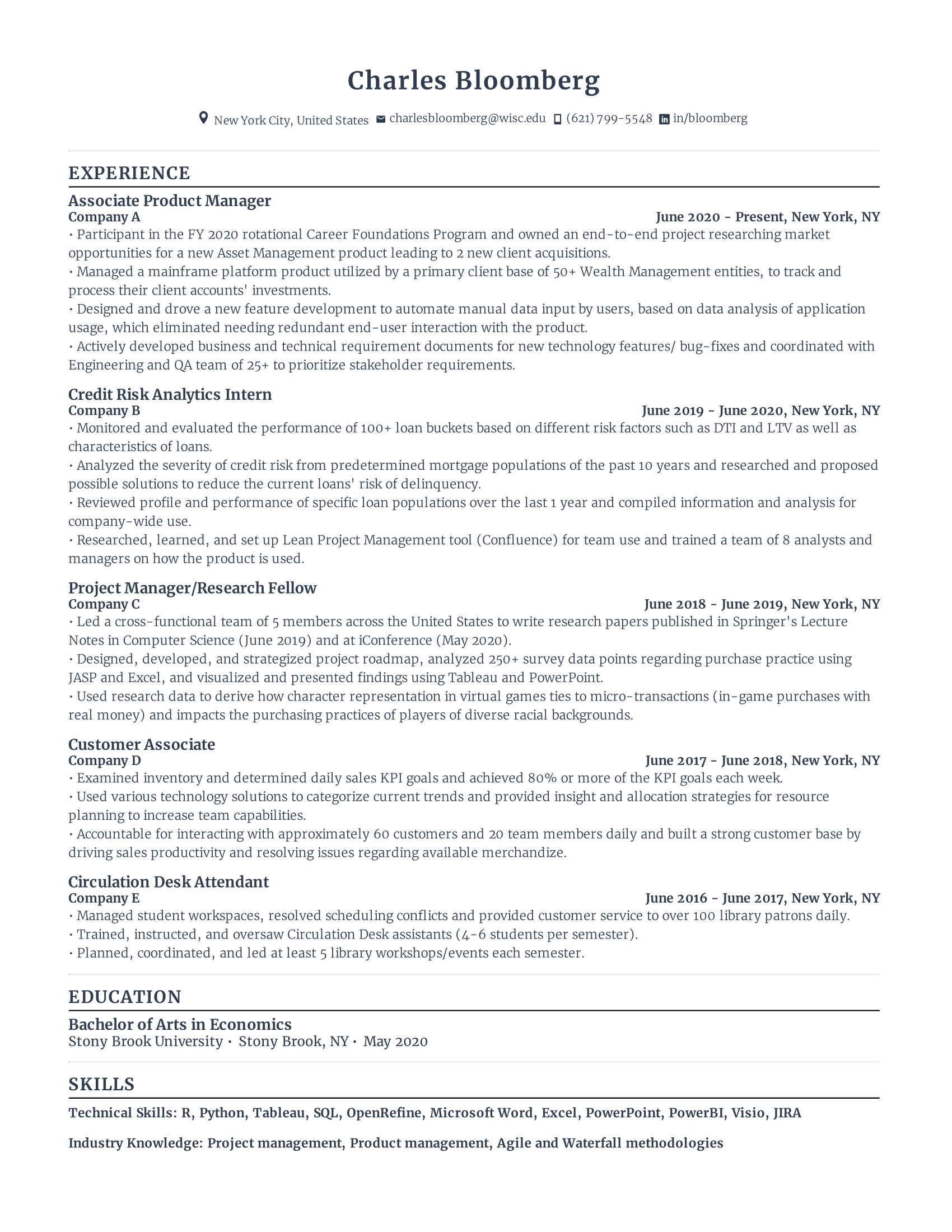Associate Product Manager Resume