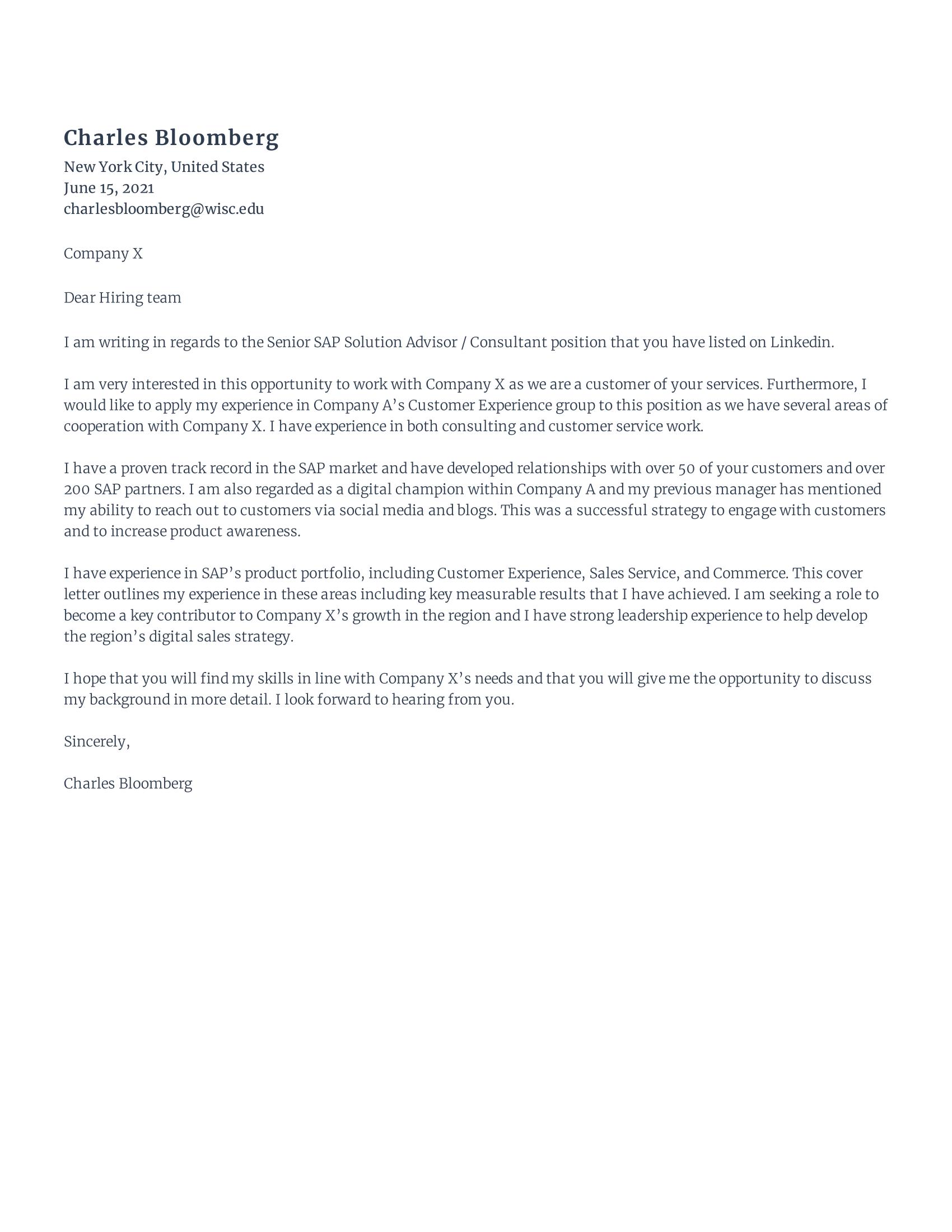 SAP Developer Cover Letter