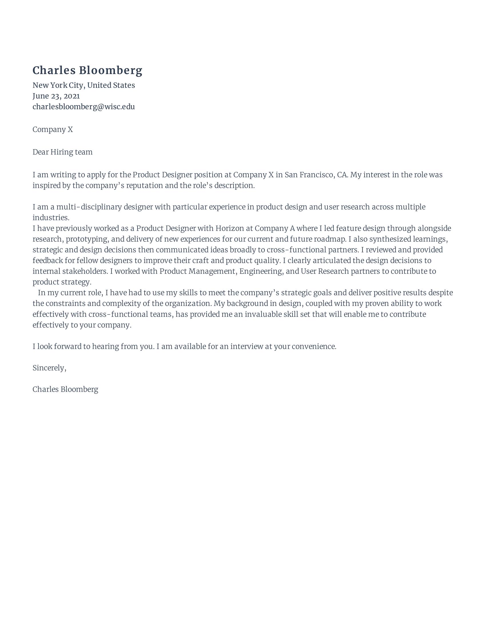 Senior Product Designer Cover Letter