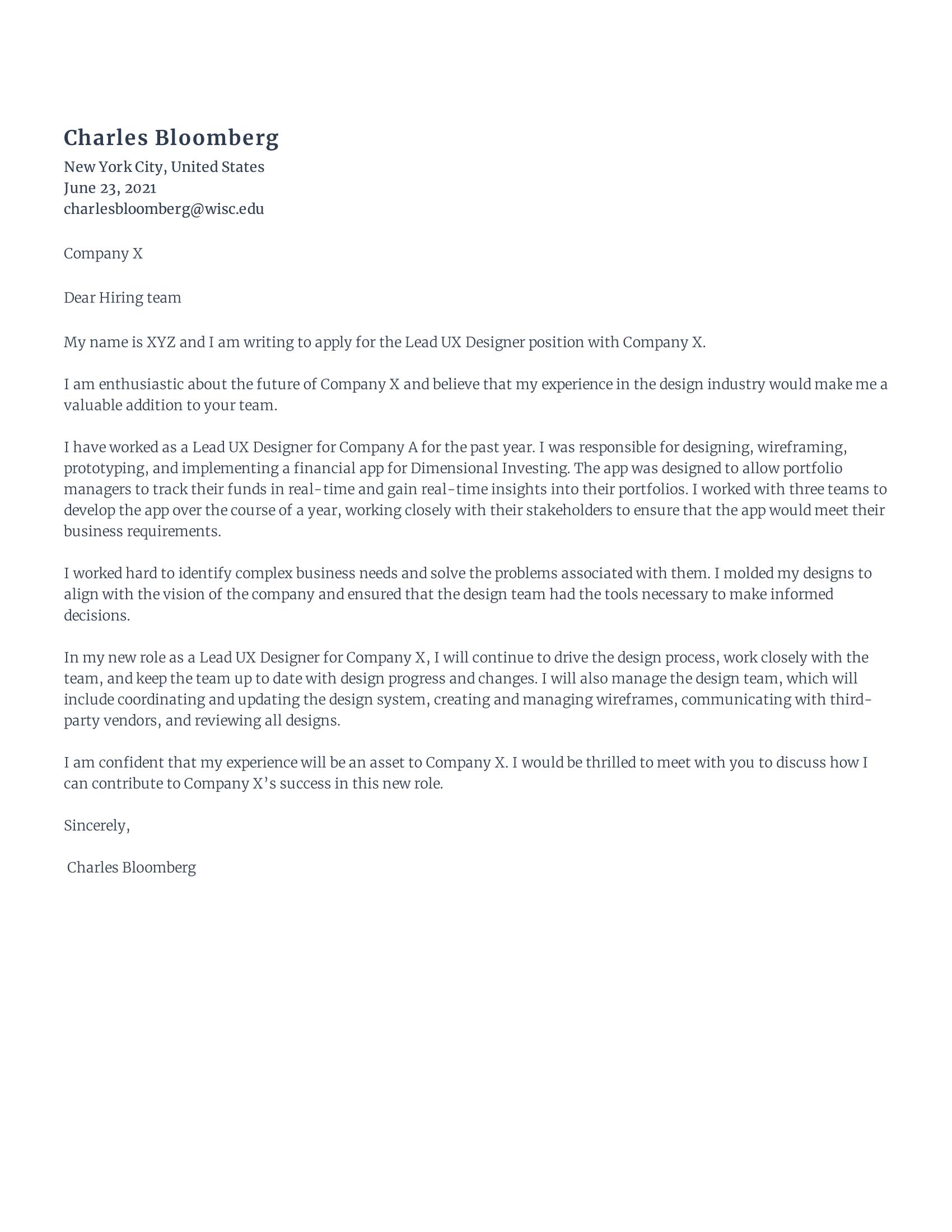 Lead UX Designer Cover Letter