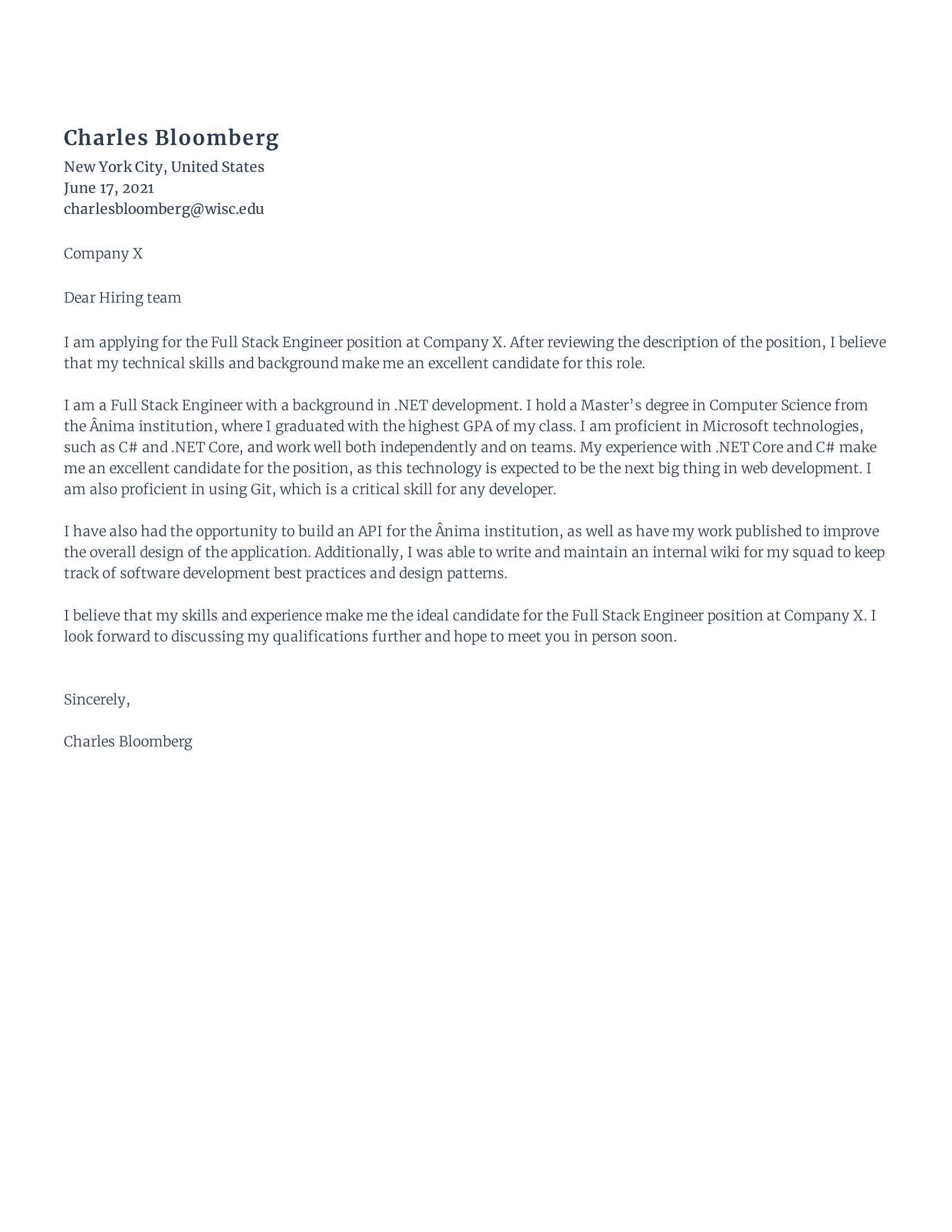 Front-End Engineer Cover Letter