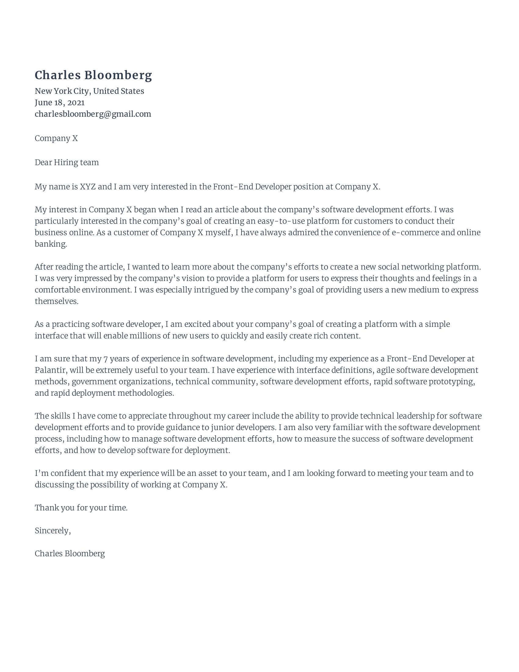 Front-End Developer Cover Letter