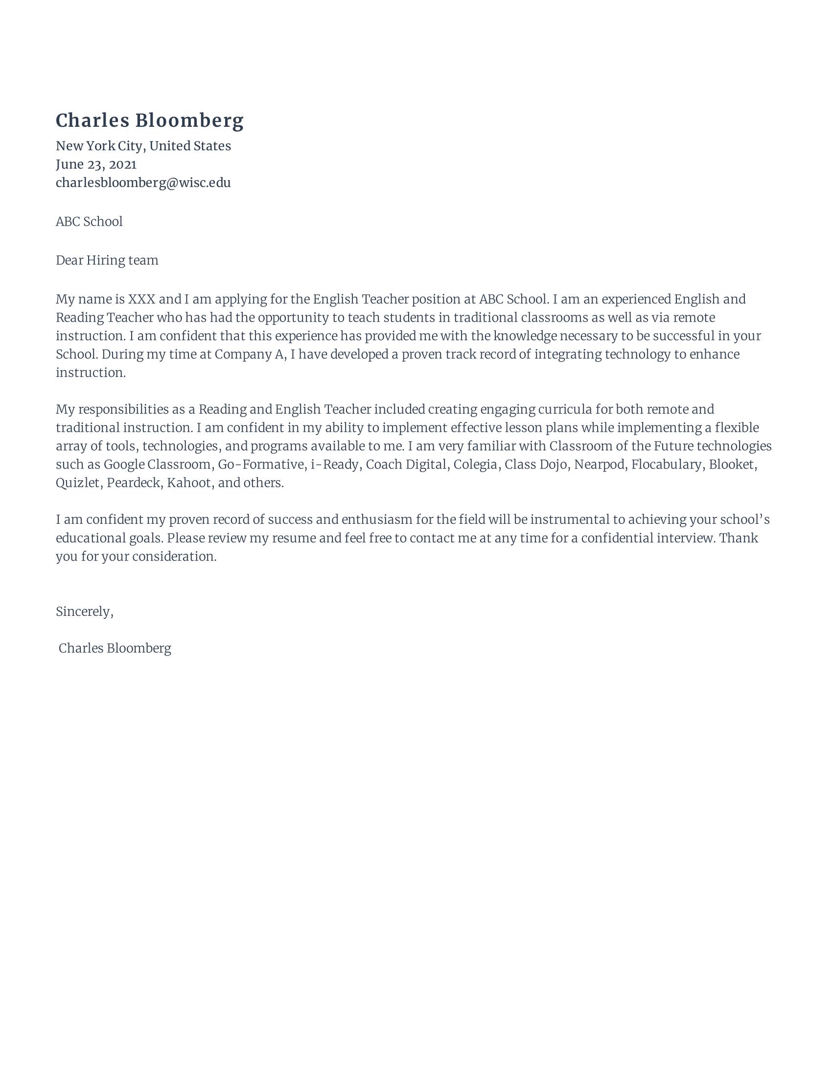English Language Teacher Cover Letter