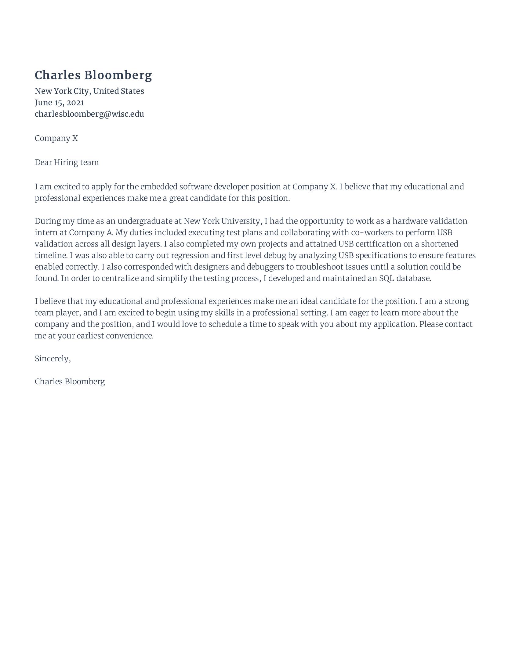 Embedded Software Developer Cover Letter