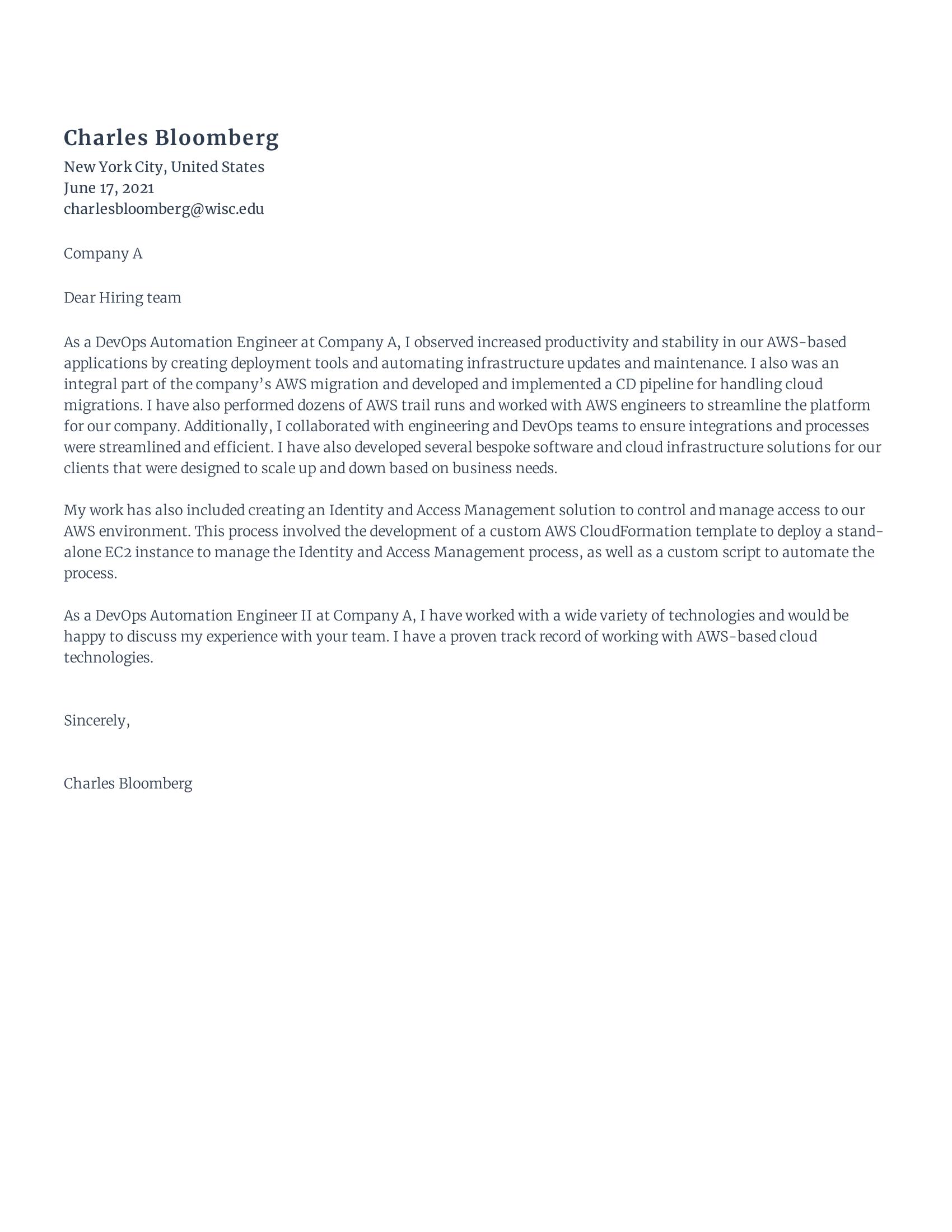 DevOps Engineer Cover Letter