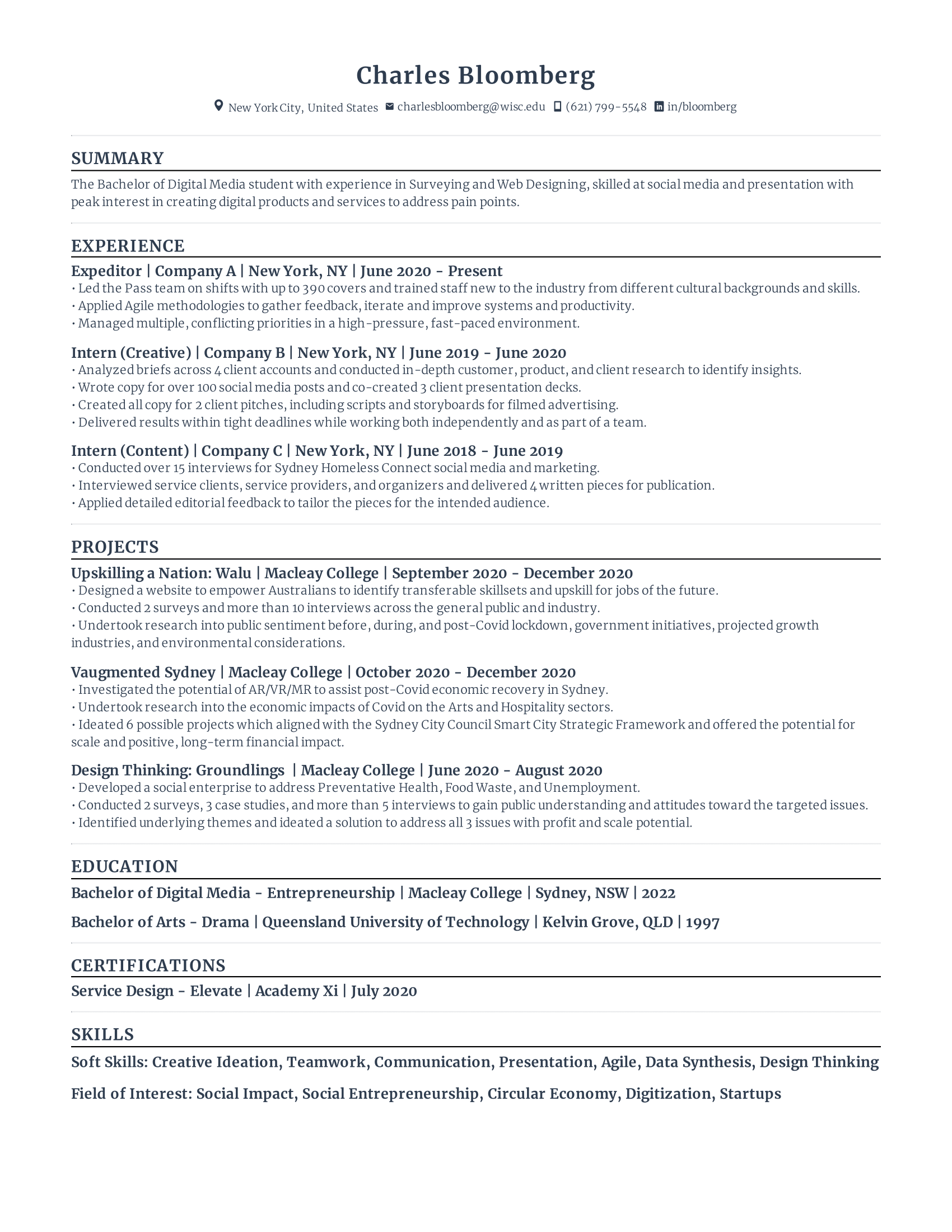 Assistant Policy Intern Resume
