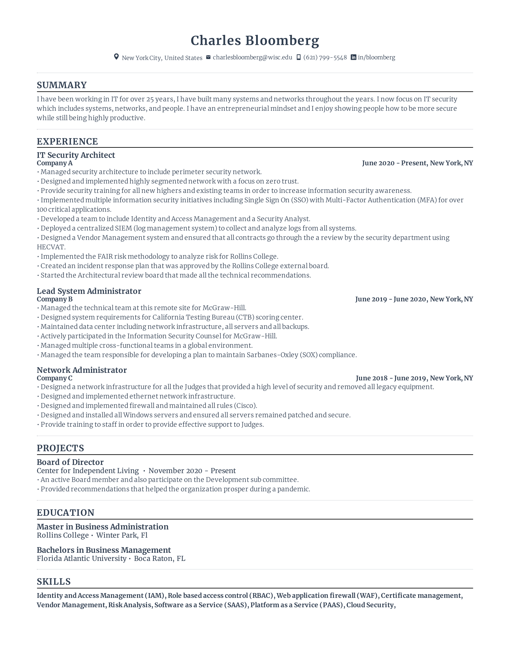 IT Security Architect Resume