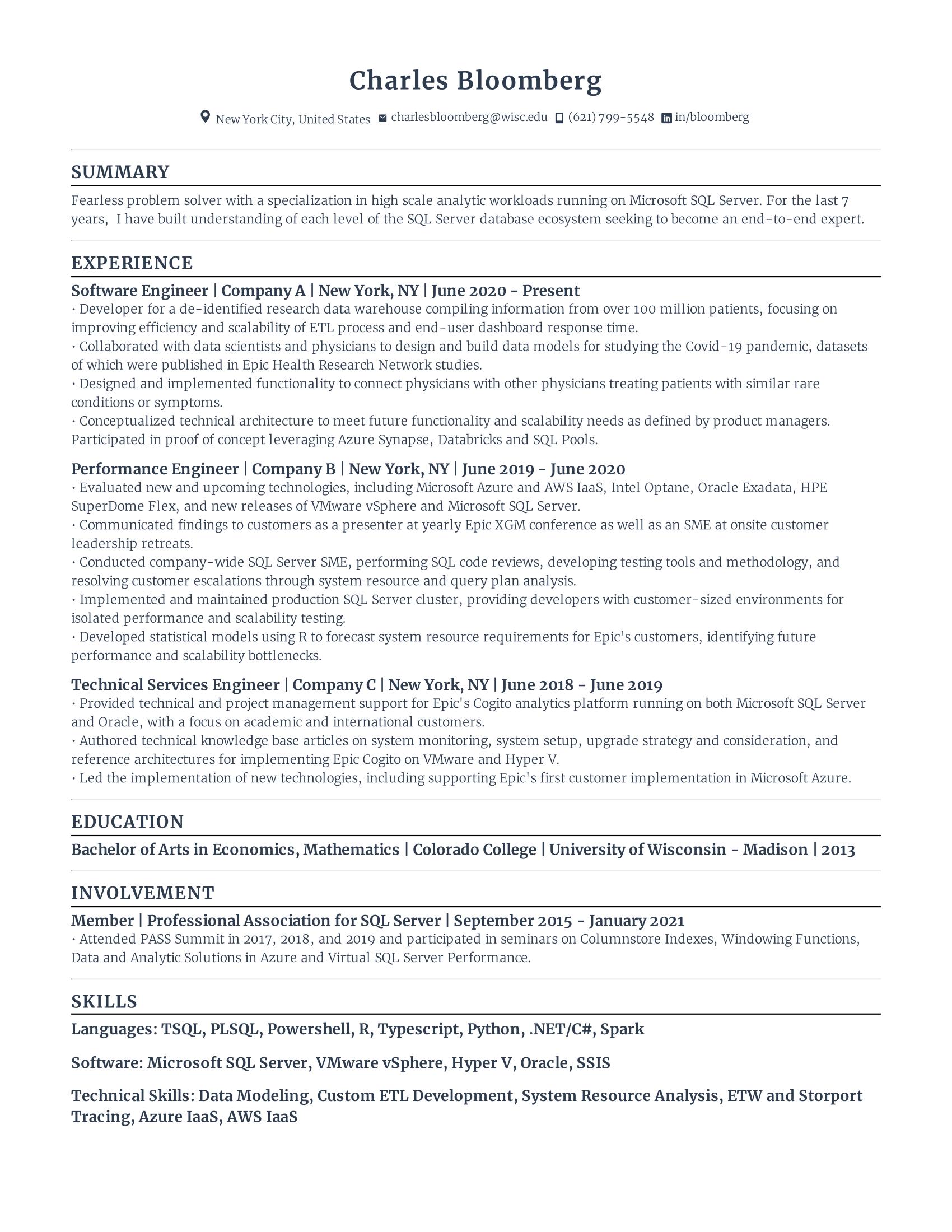 Resume Example From Rezi
